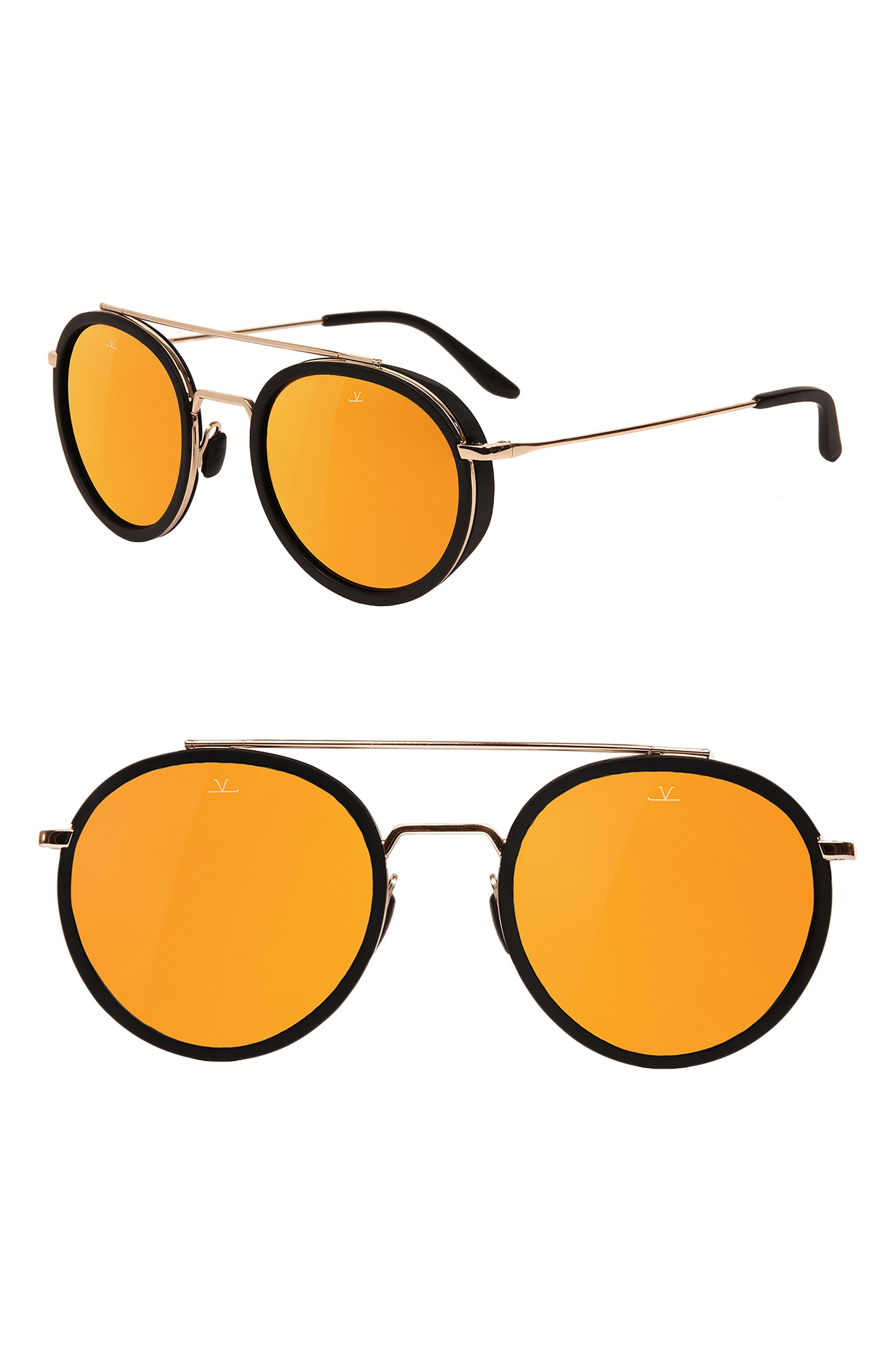 Edge 52mm Round Sunglasses,                         Main,                         color, PURE BROWN GOLD FLASH