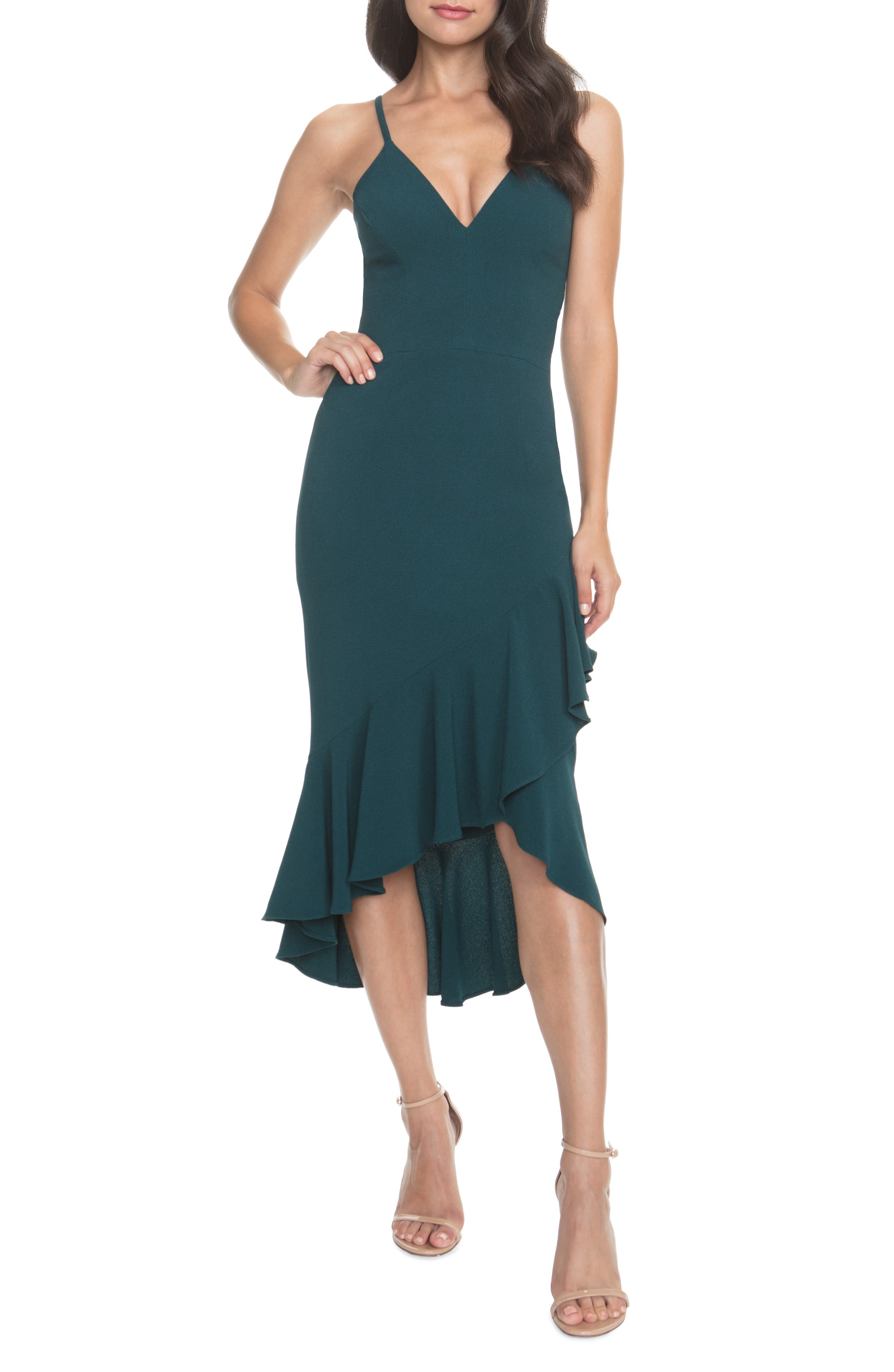Dress The Population Wendy High/low Ruffle Cocktail Dress, Green