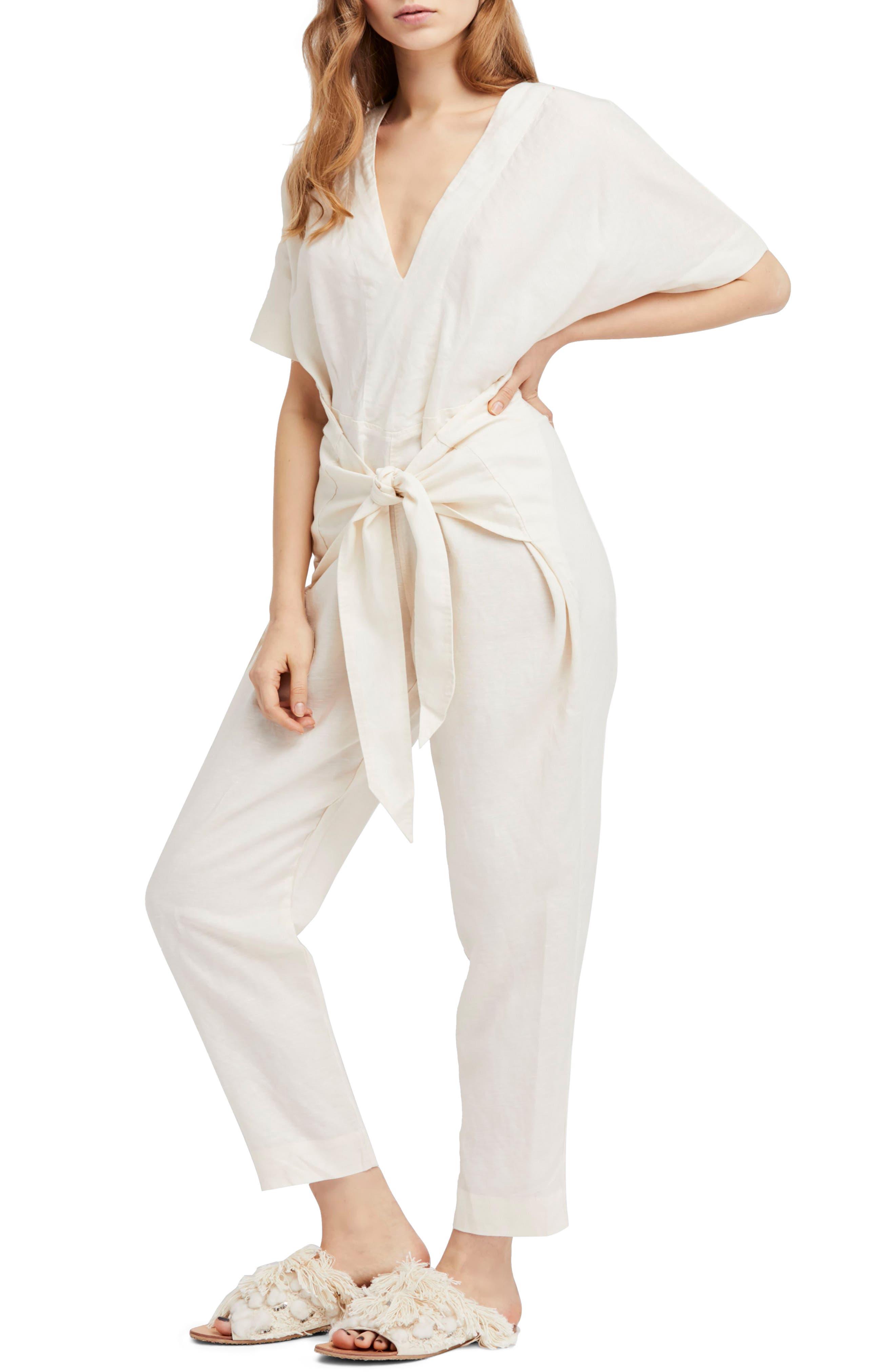 Shining Sun Tie Front Jumpsuit,                         Main,                         color, 903