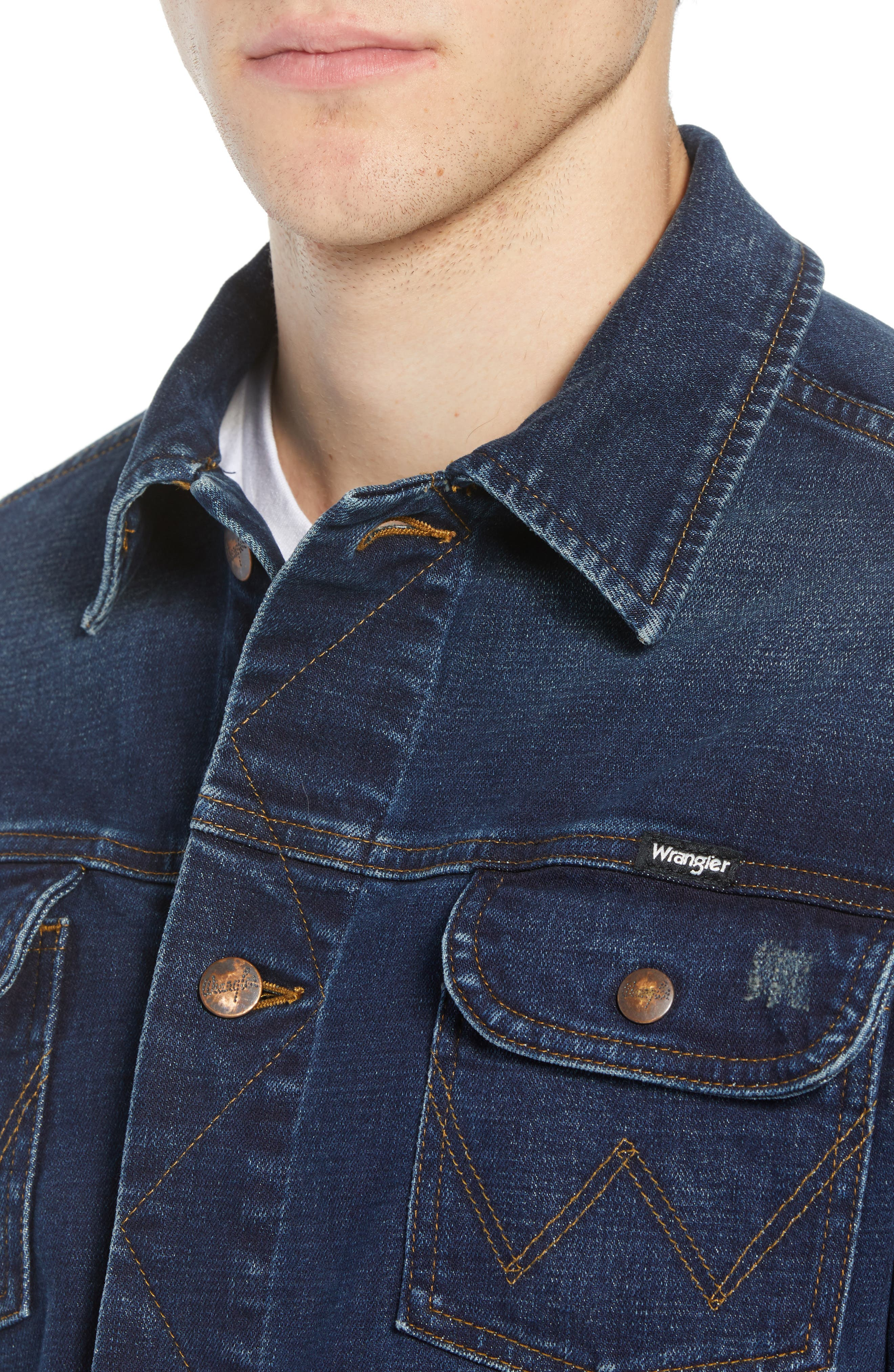 Heritage Denim Jacket,                             Alternate thumbnail 4, color,                             DARK WASH