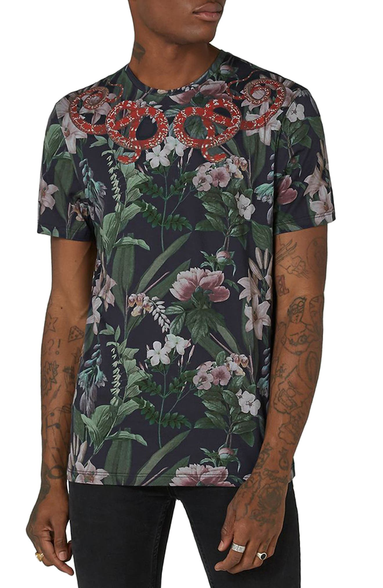 Snake Print T-Shirt,                             Main thumbnail 1, color,