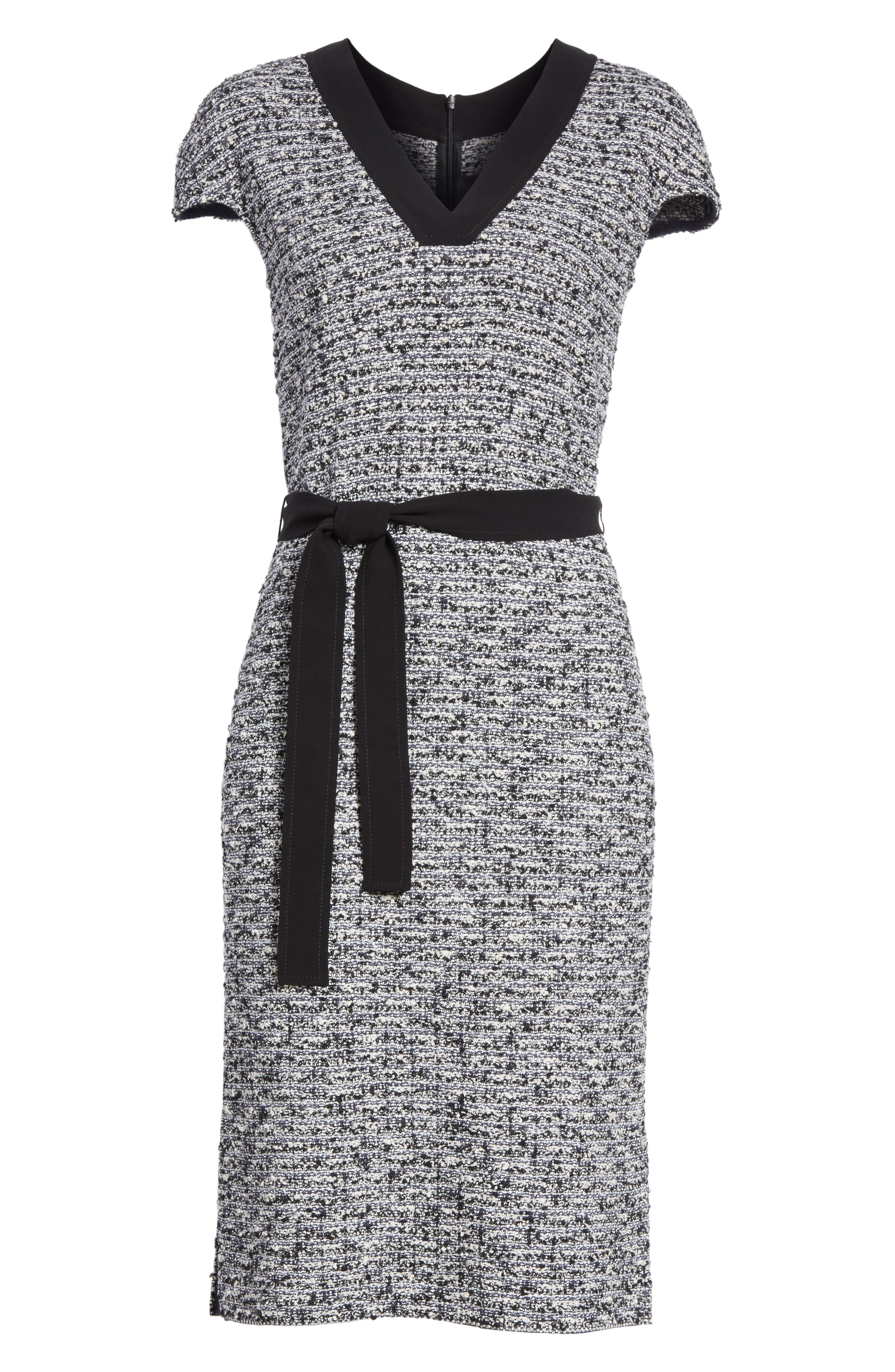 Micro Tweed Belted Dress,                             Alternate thumbnail 6, color,                             001
