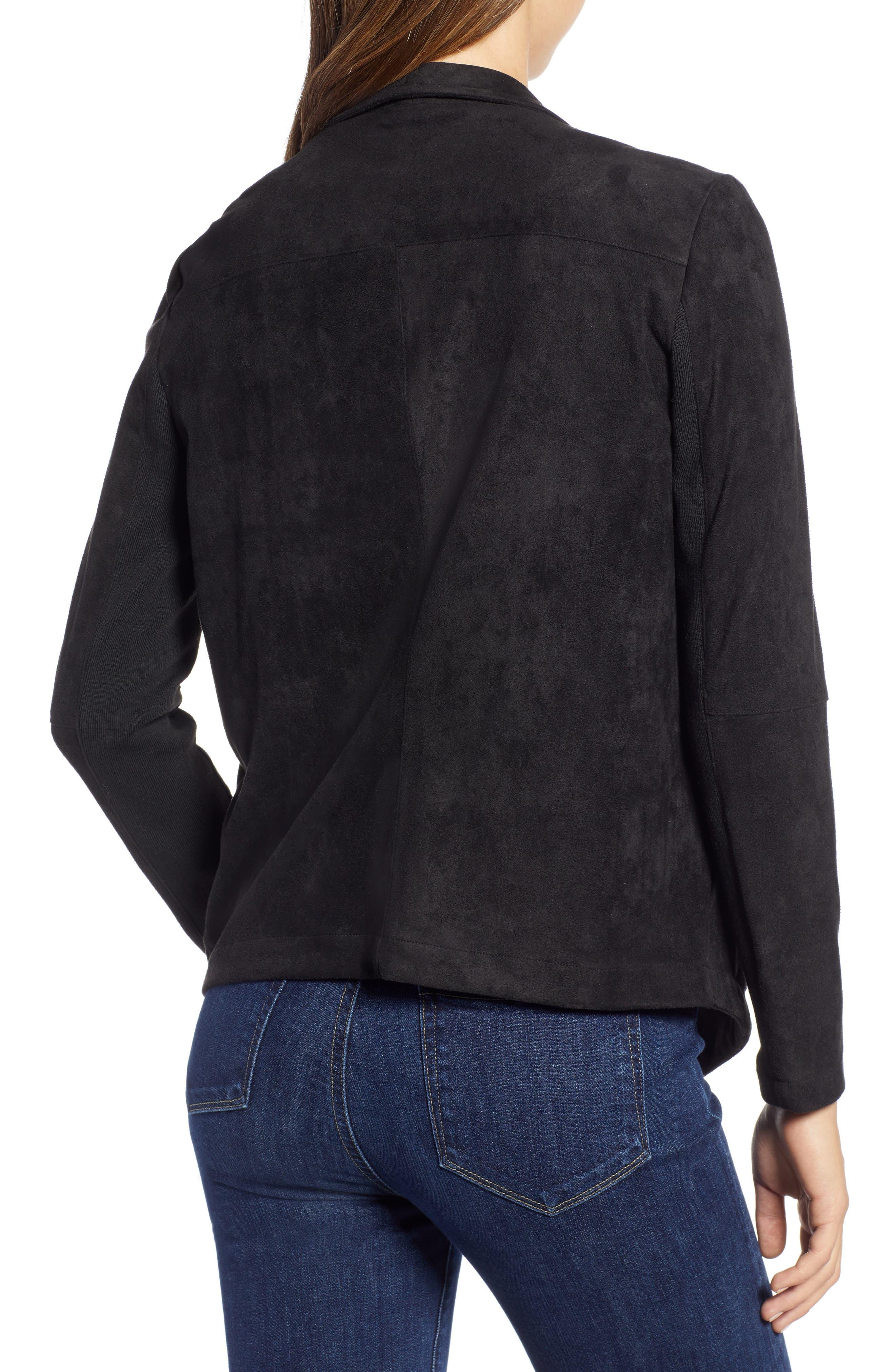 Nicholson Faux Suede Drape Front Jacket,                             Alternate thumbnail 2, color,                             001