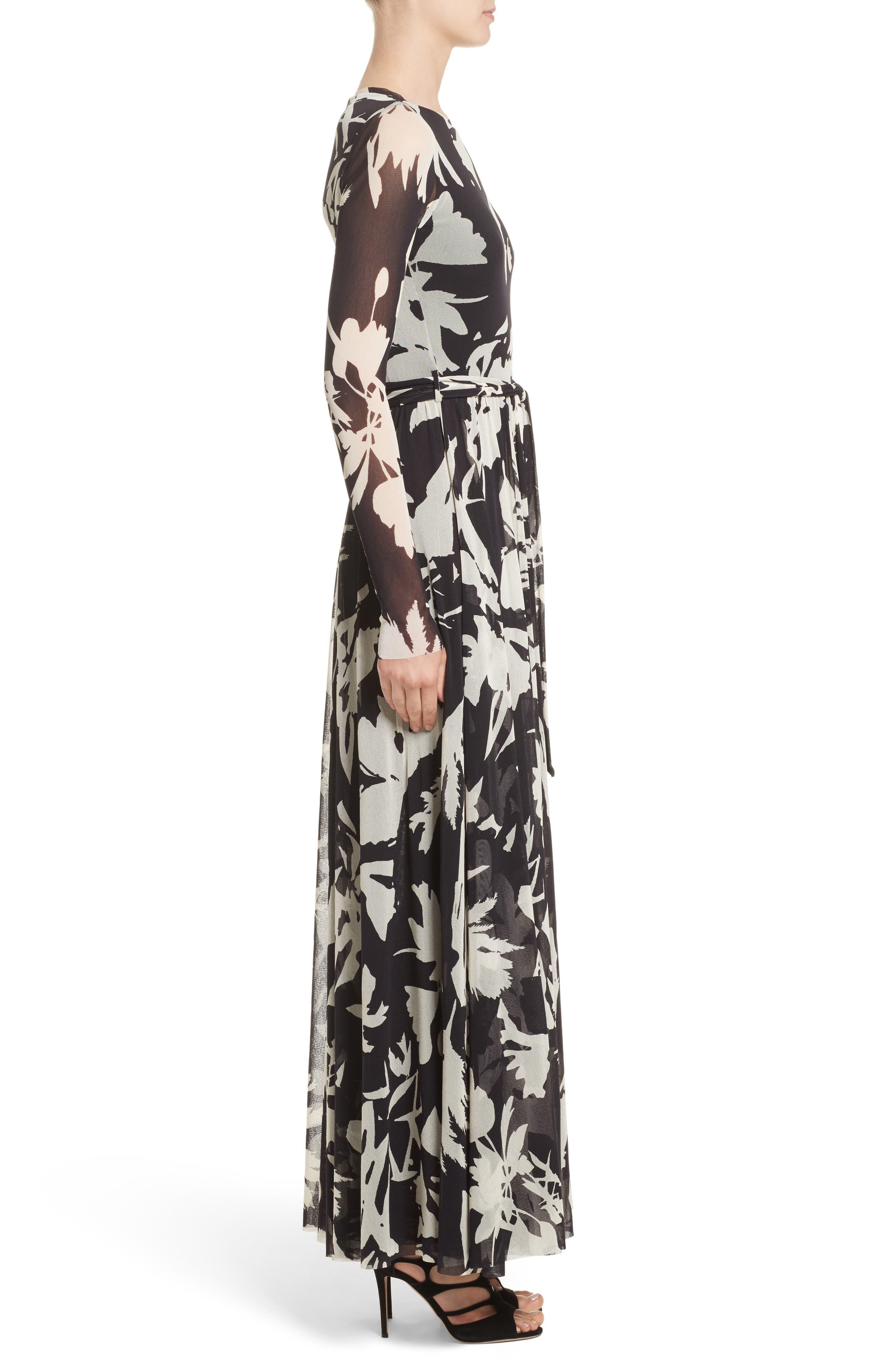 Bicolor Floral Print Tulle Maxi Dress,                             Alternate thumbnail 3, color,                             001