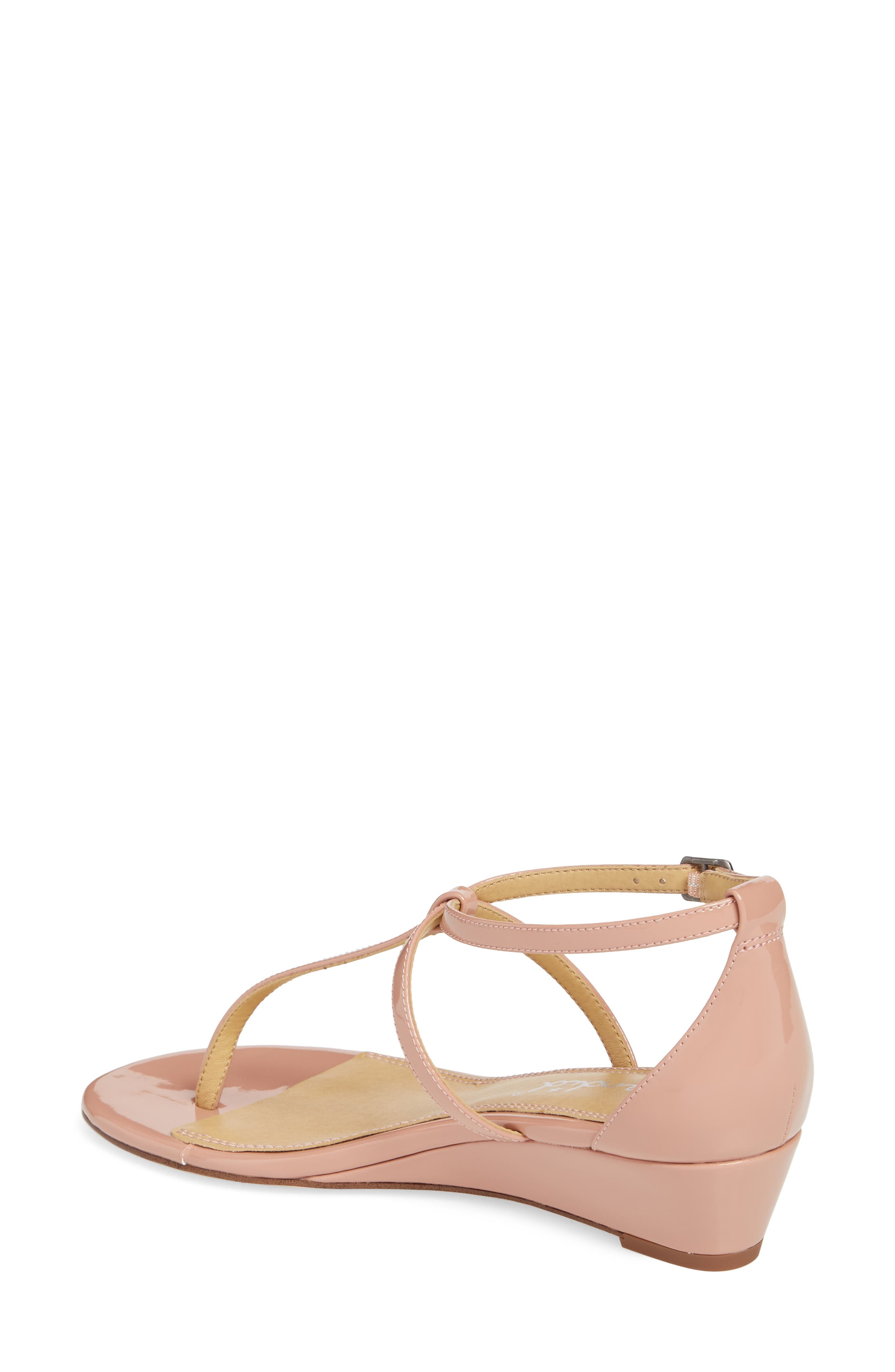 Bryce T-Strap Wedge Sandal,                             Alternate thumbnail 2, color,                             DARK BLUSH PATENT