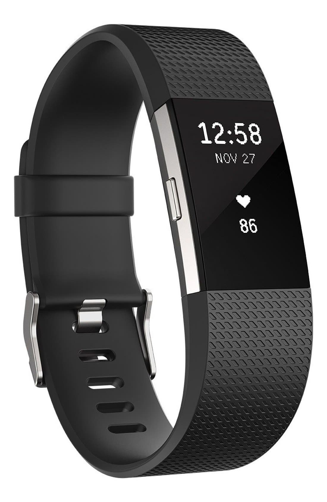 'Charge 2' Wireless Activity & Heart Rate Tracker,                         Main,                         color, BLACK