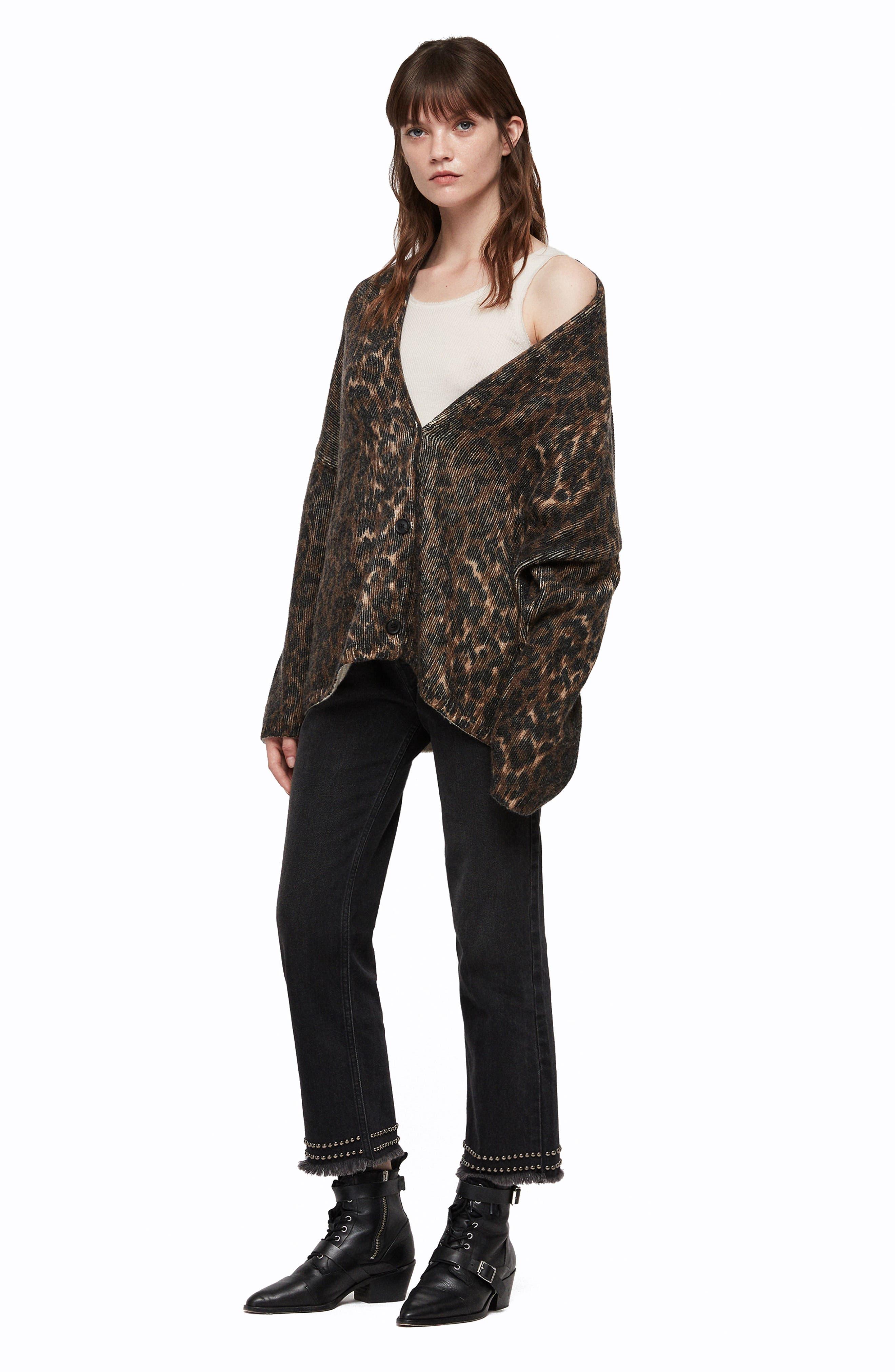 Ph Leopard Wool Blend Cardigan,                             Alternate thumbnail 5, color,                             LEOPARD BROWN