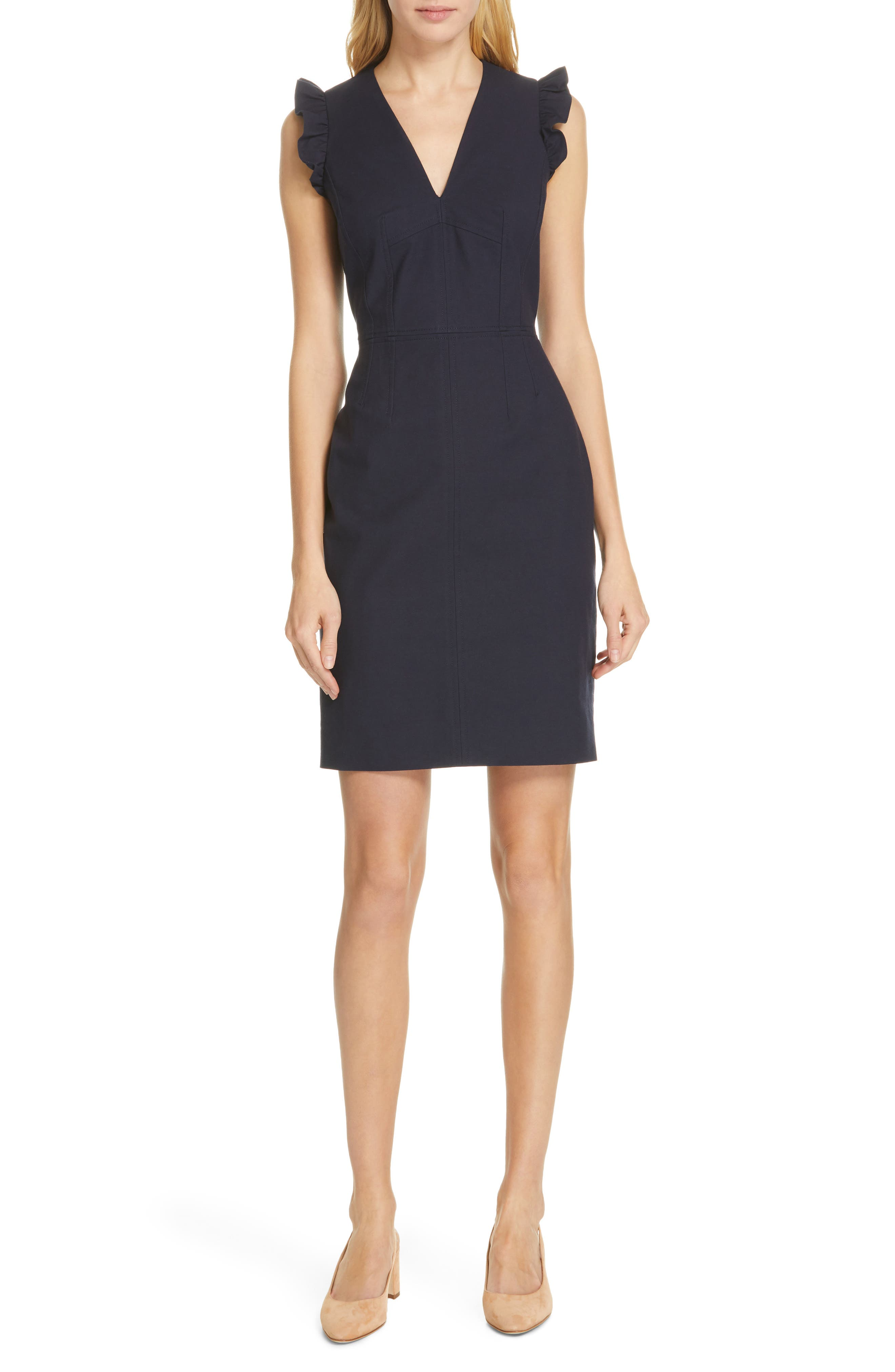 Tailored By Rebecca Taylor V-Neck Sheath Dress, Blue
