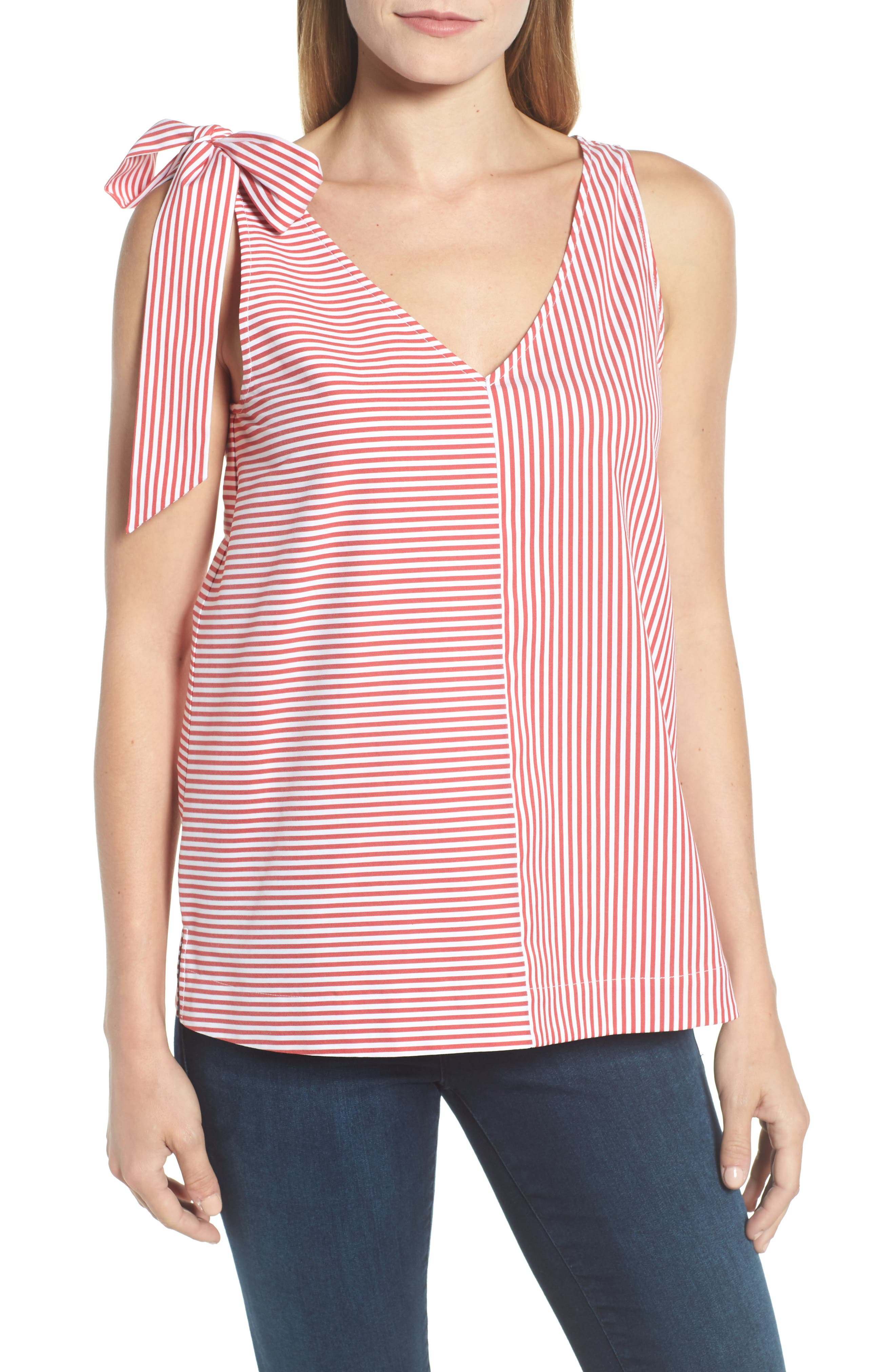 Sleeveless Striped Bow Top,                             Main thumbnail 1, color,