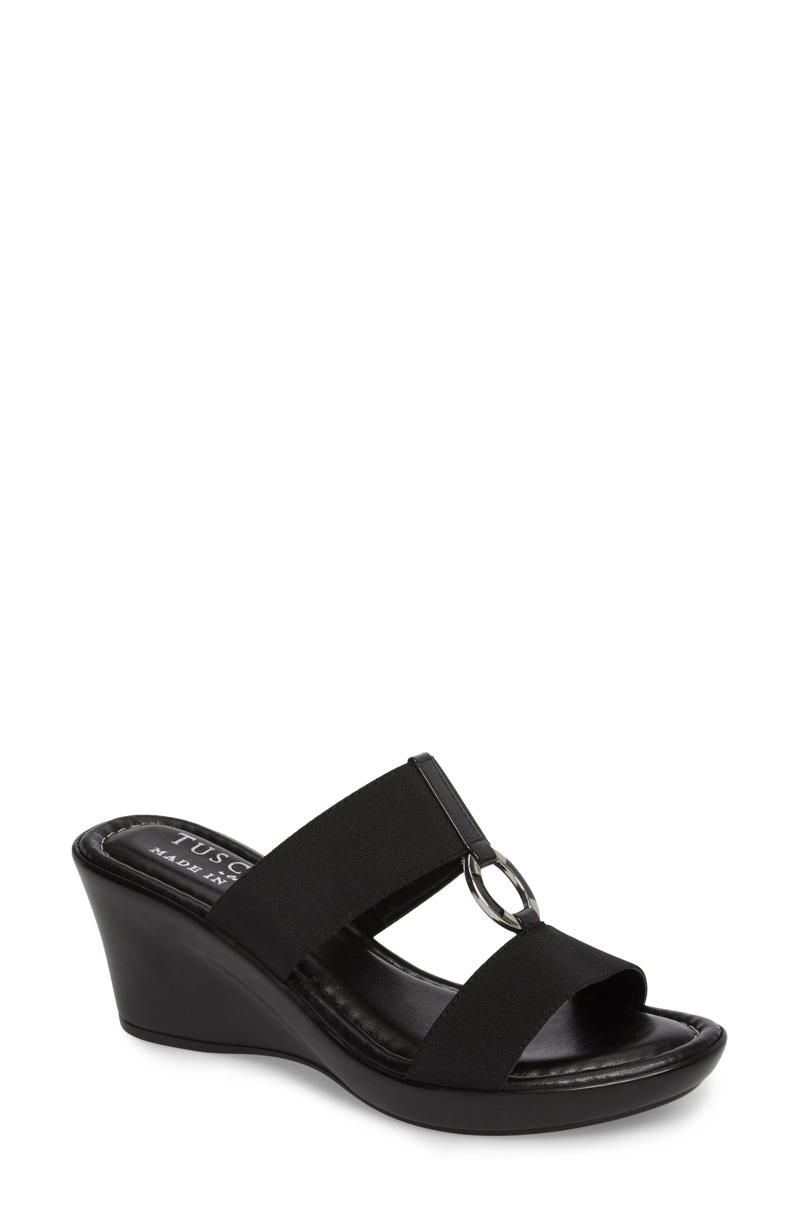 by Easy Street<sup>®</sup> Marietta Slide Sandal,                         Main,                         color, BLACK PATENT FAUX LEATHER