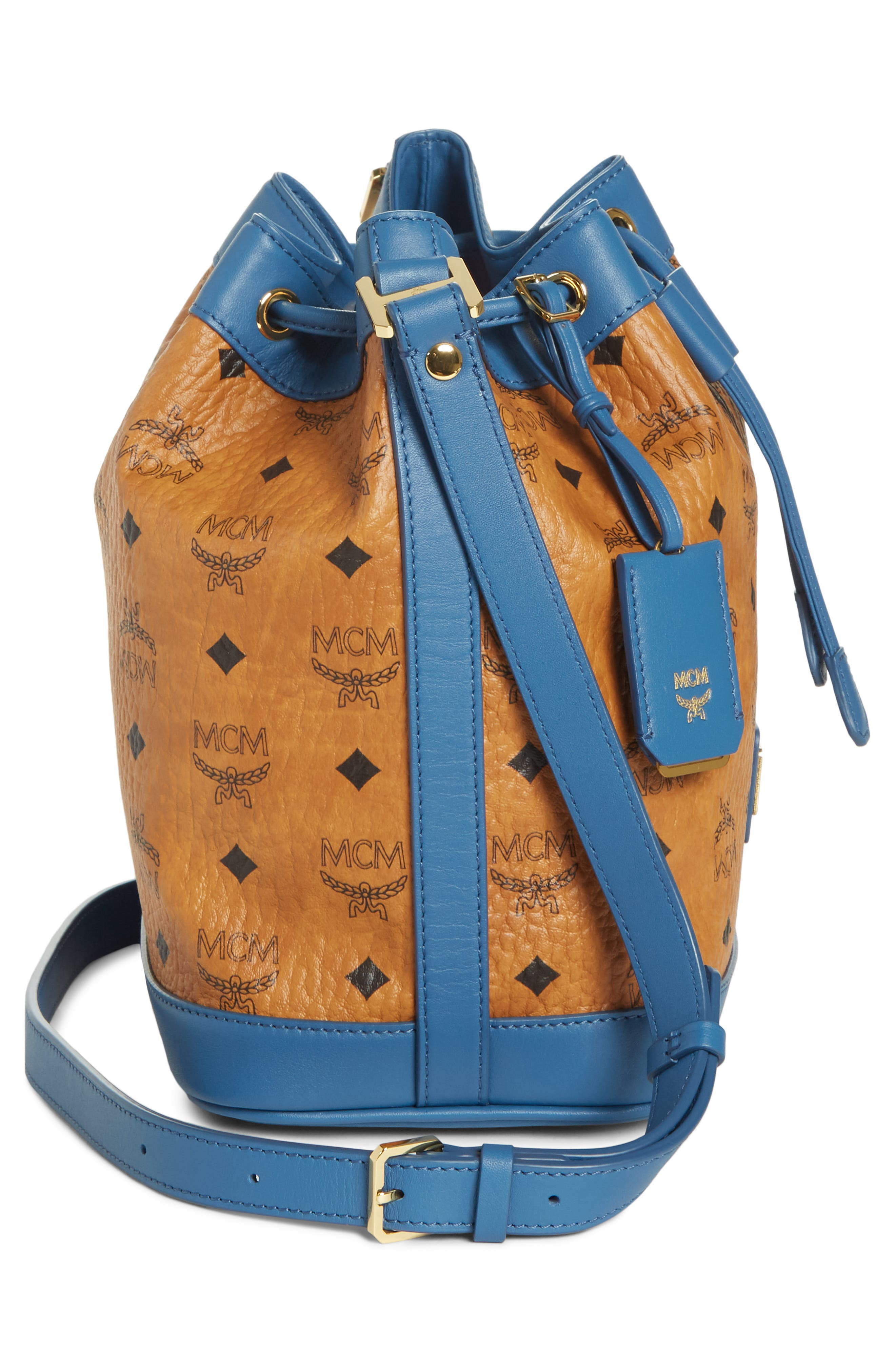 Small Visetos Drawstring Crossbody Bag,                             Alternate thumbnail 5, color,                             COGNAC/ SLATE BLUE