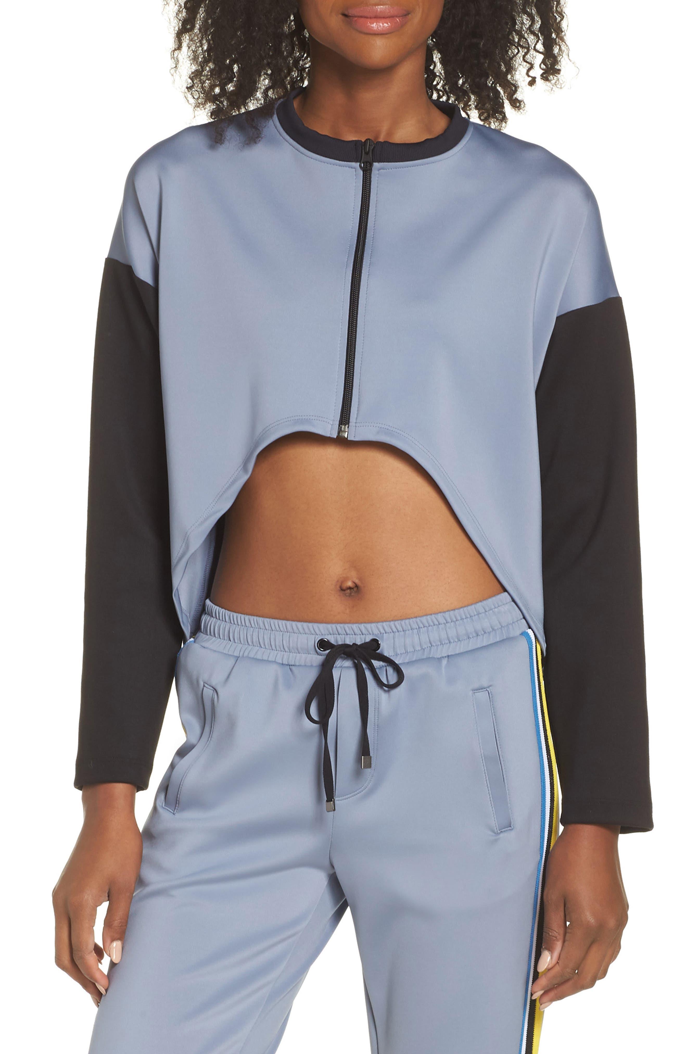 Koral Ace Colorblock Front Crop Jacket, Blue