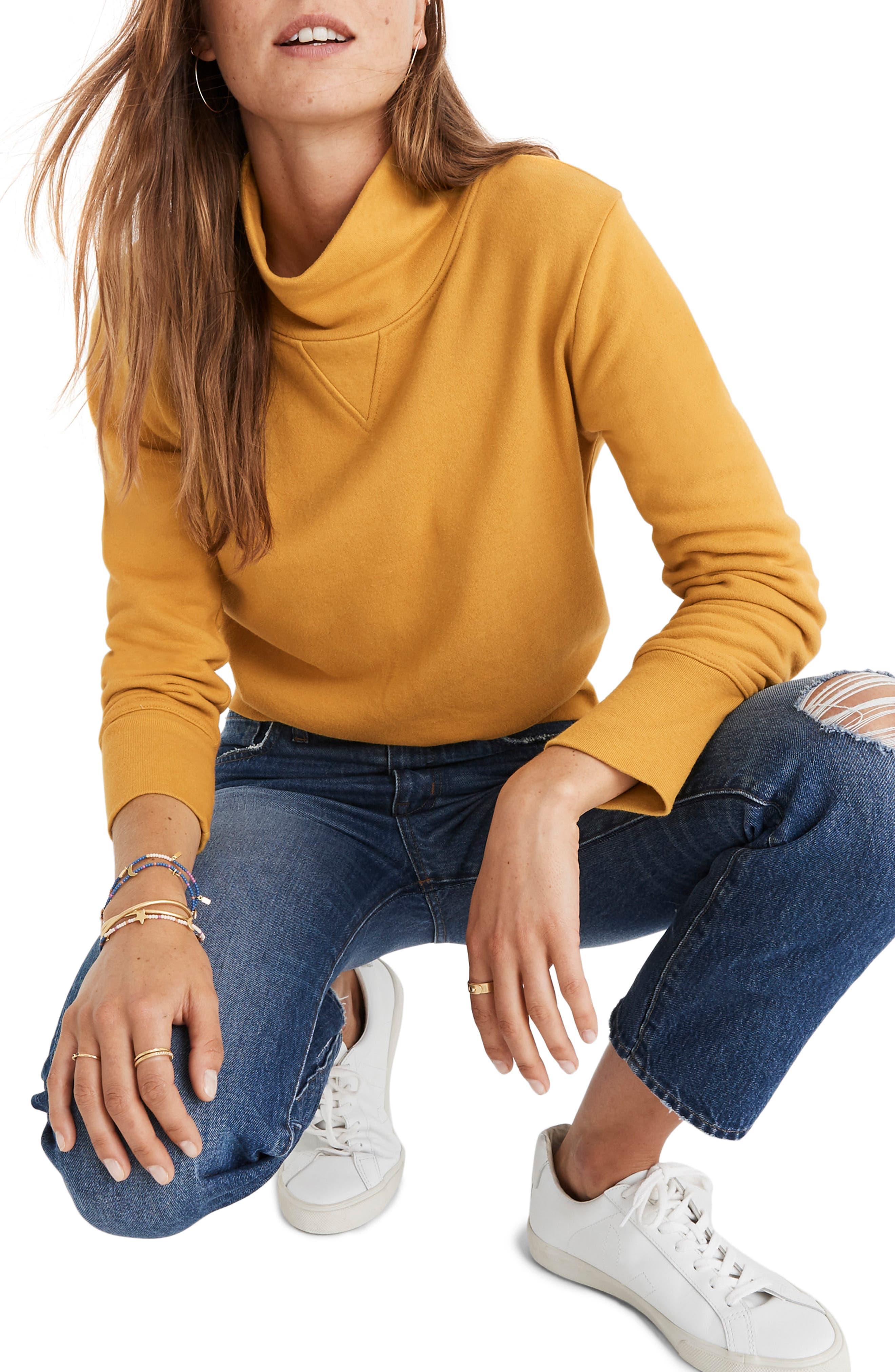 Turtleneck Sweatshirt,                             Main thumbnail 1, color,                             NECTAR GOLD