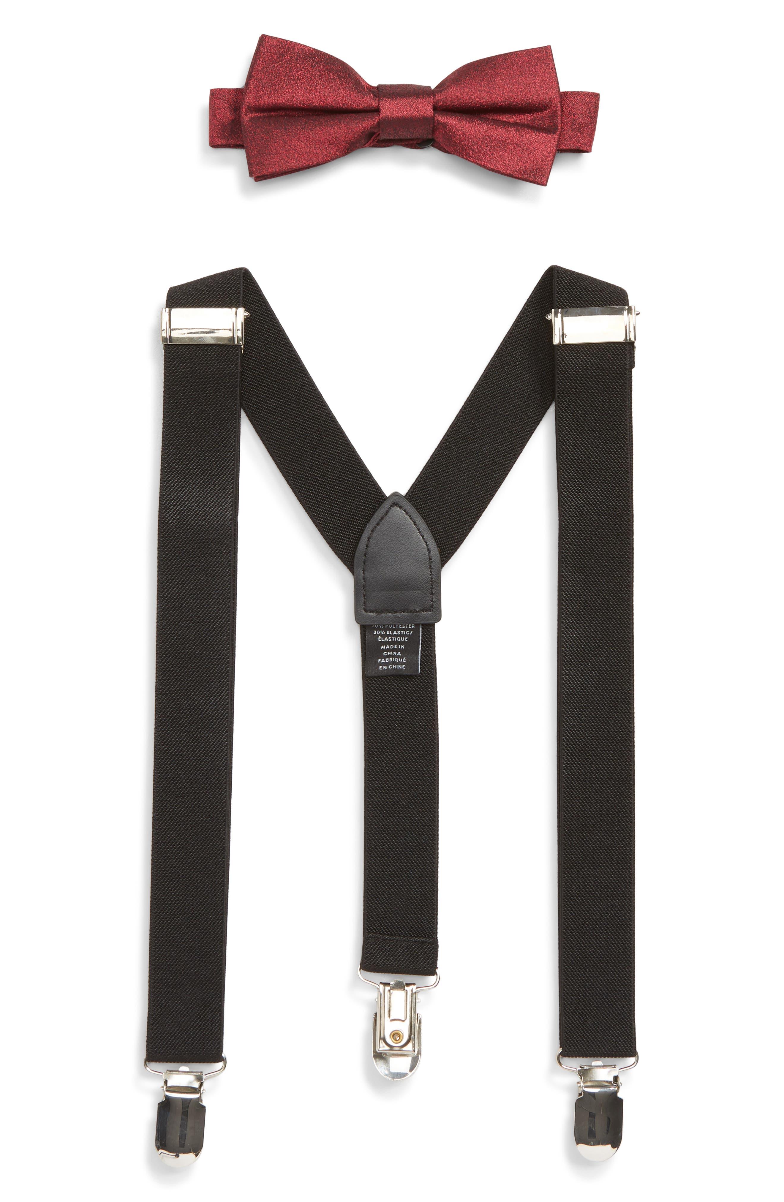 Solid Bow Tie & Suspender Set, Main, color, BURGUNDY