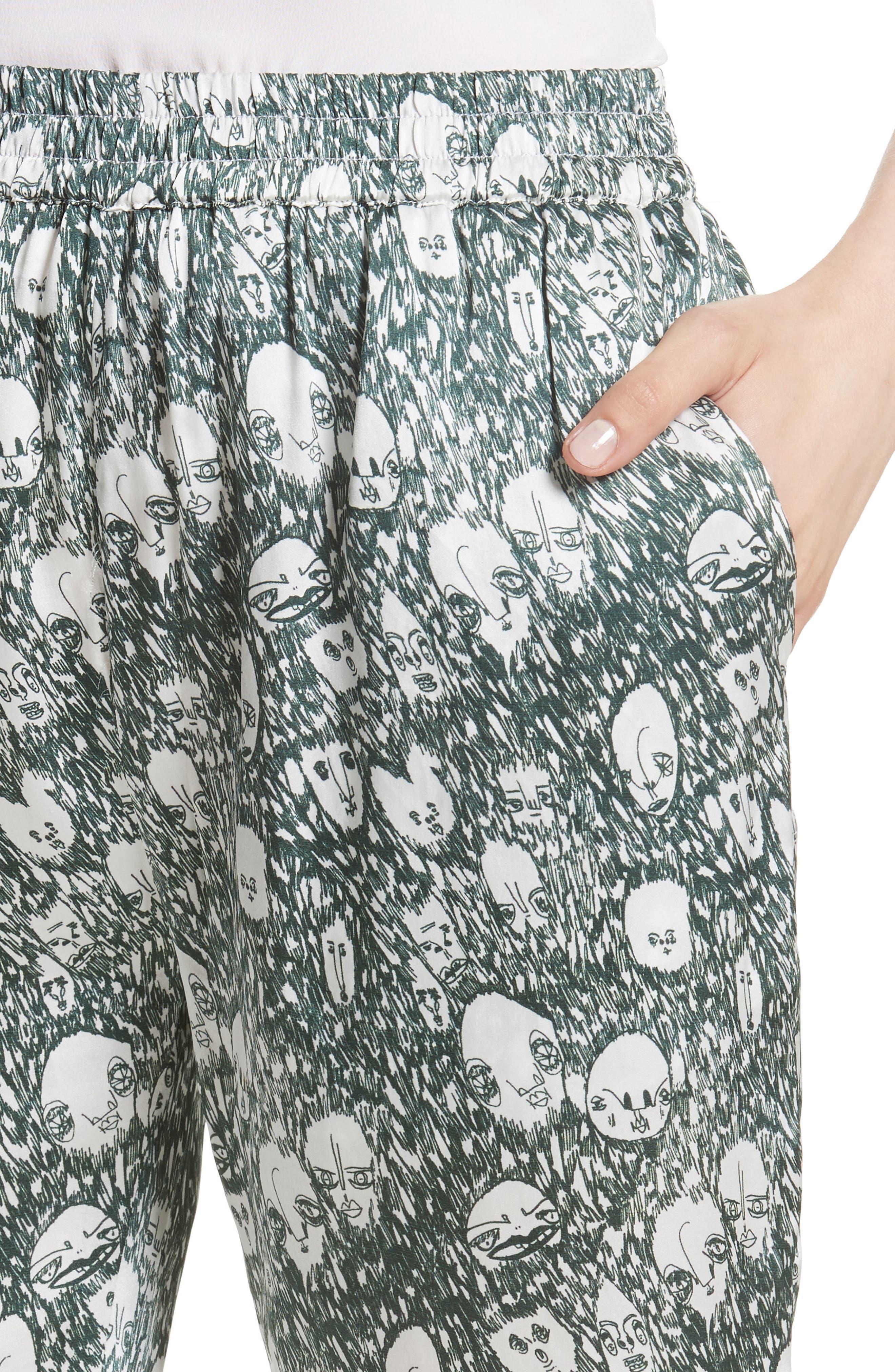 Angus Crop Silk Lounge Pants,                             Alternate thumbnail 4, color,                             900