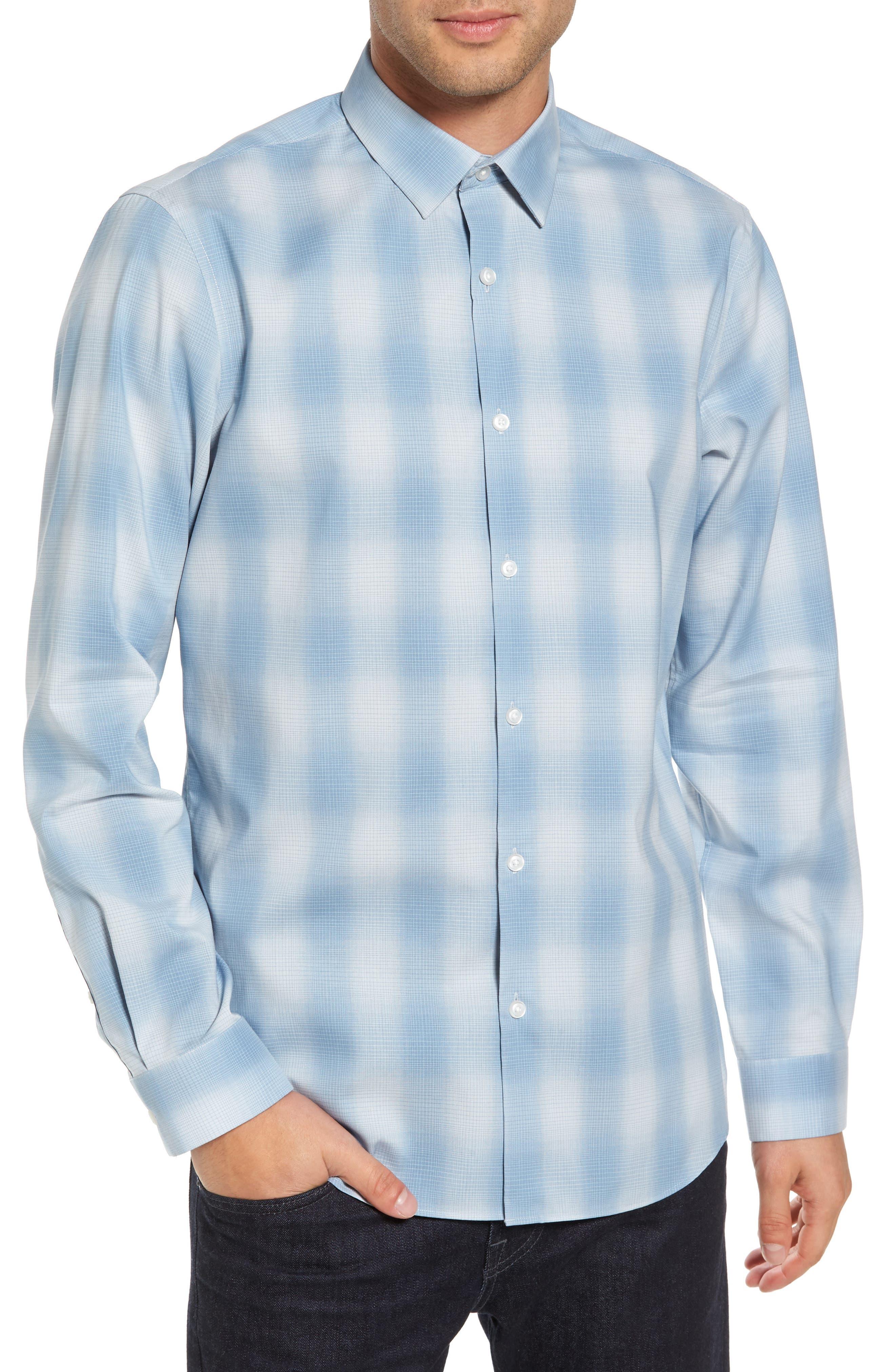 Trim Fit Plaid Sport Shirt,                             Main thumbnail 2, color,