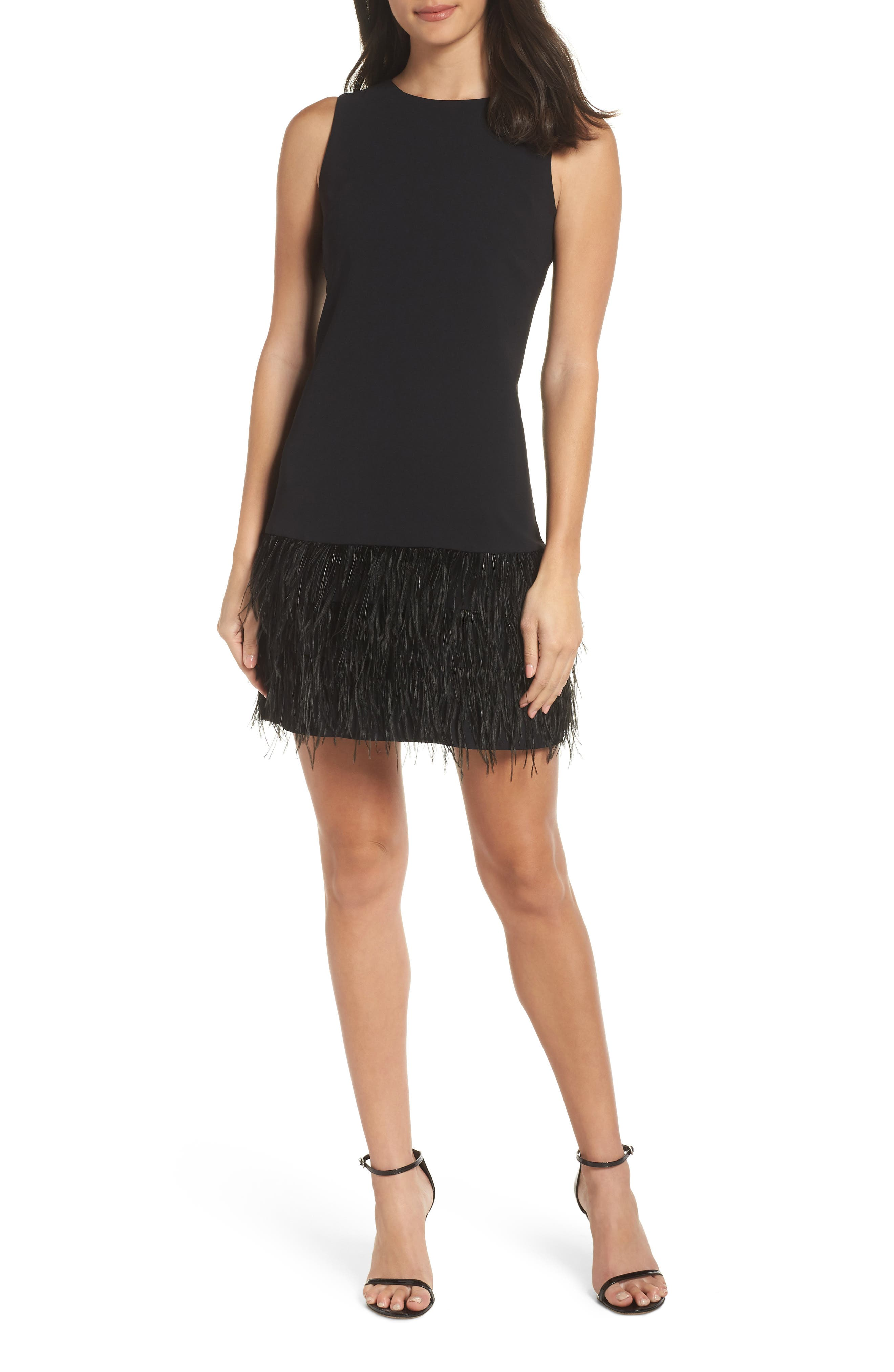 Feather Hem Sheath Dress,                             Main thumbnail 1, color,                             BLACK