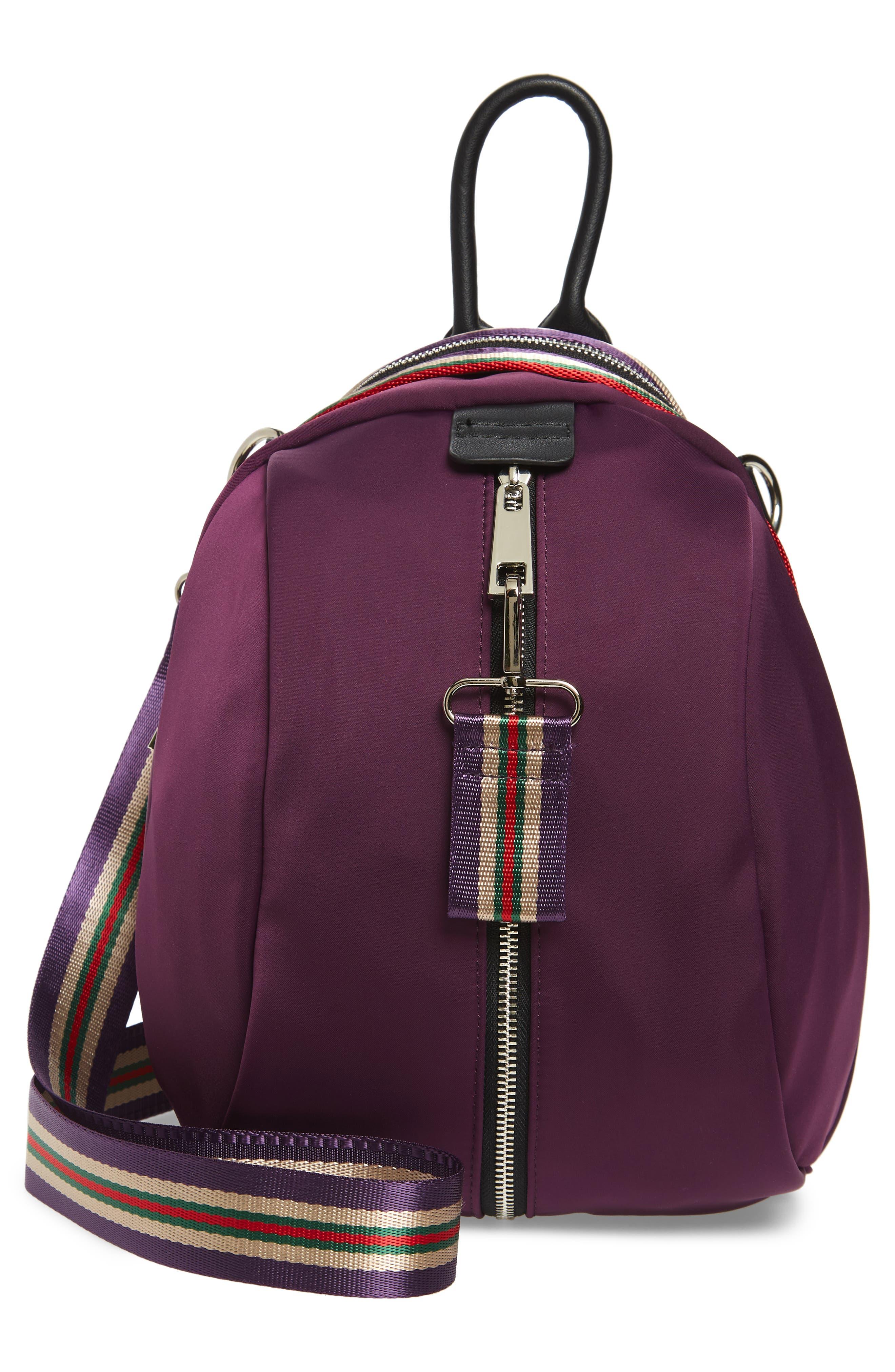Satin Nylon & Webbing Convertible Backpack,                             Alternate thumbnail 3, color,                             PURPLE