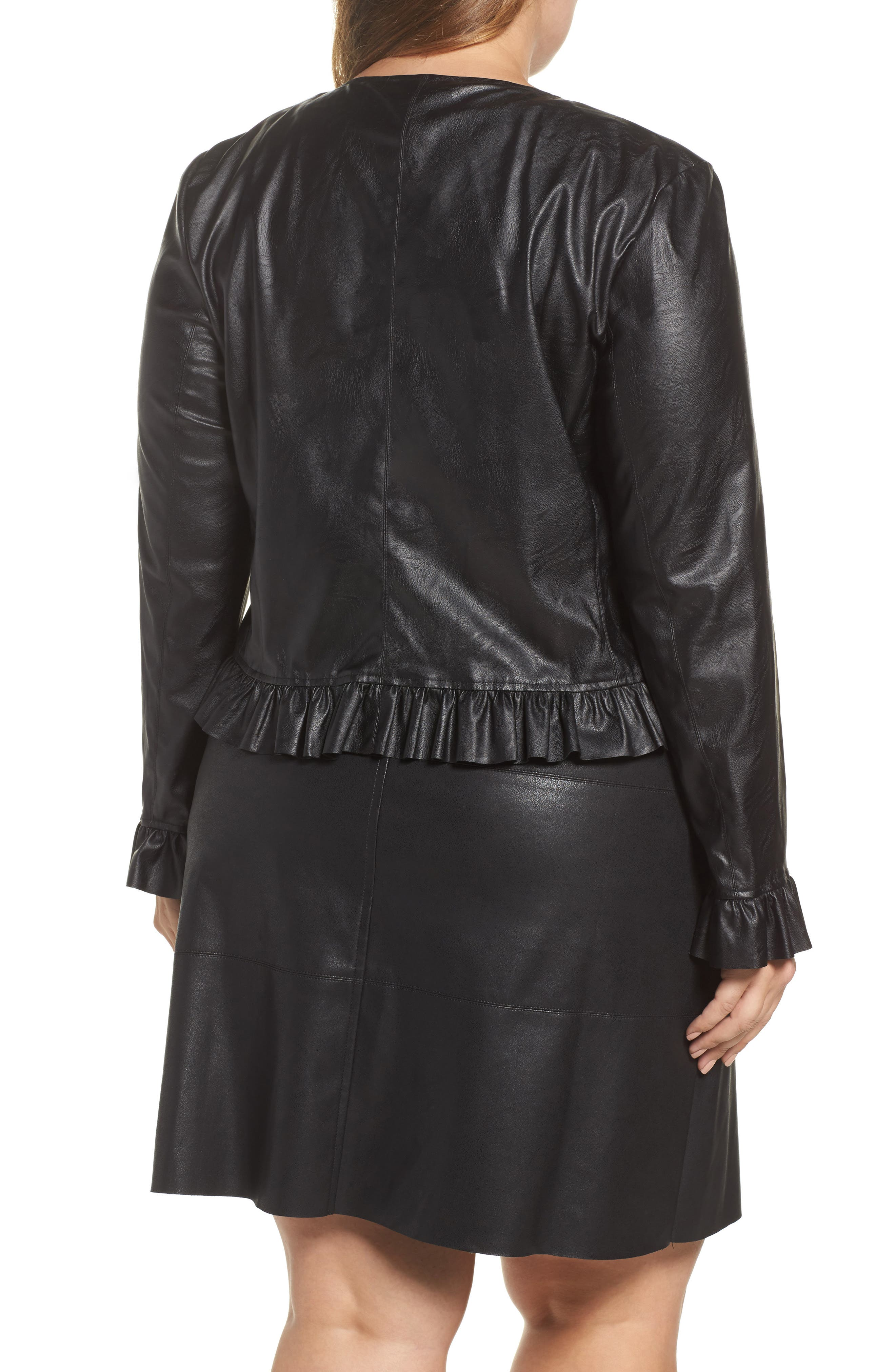 Faux Leather Frill Jacket,                             Alternate thumbnail 2, color,                             001