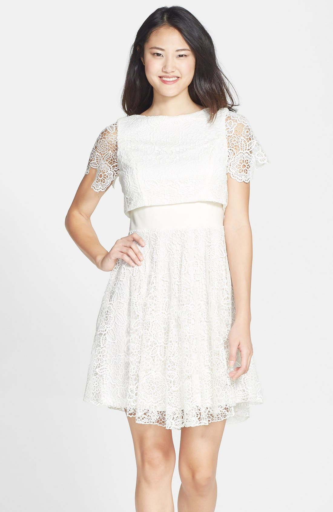 EVA FRANCO 'Mira' Lace & Crepe Popover Dress, Main, color, 100