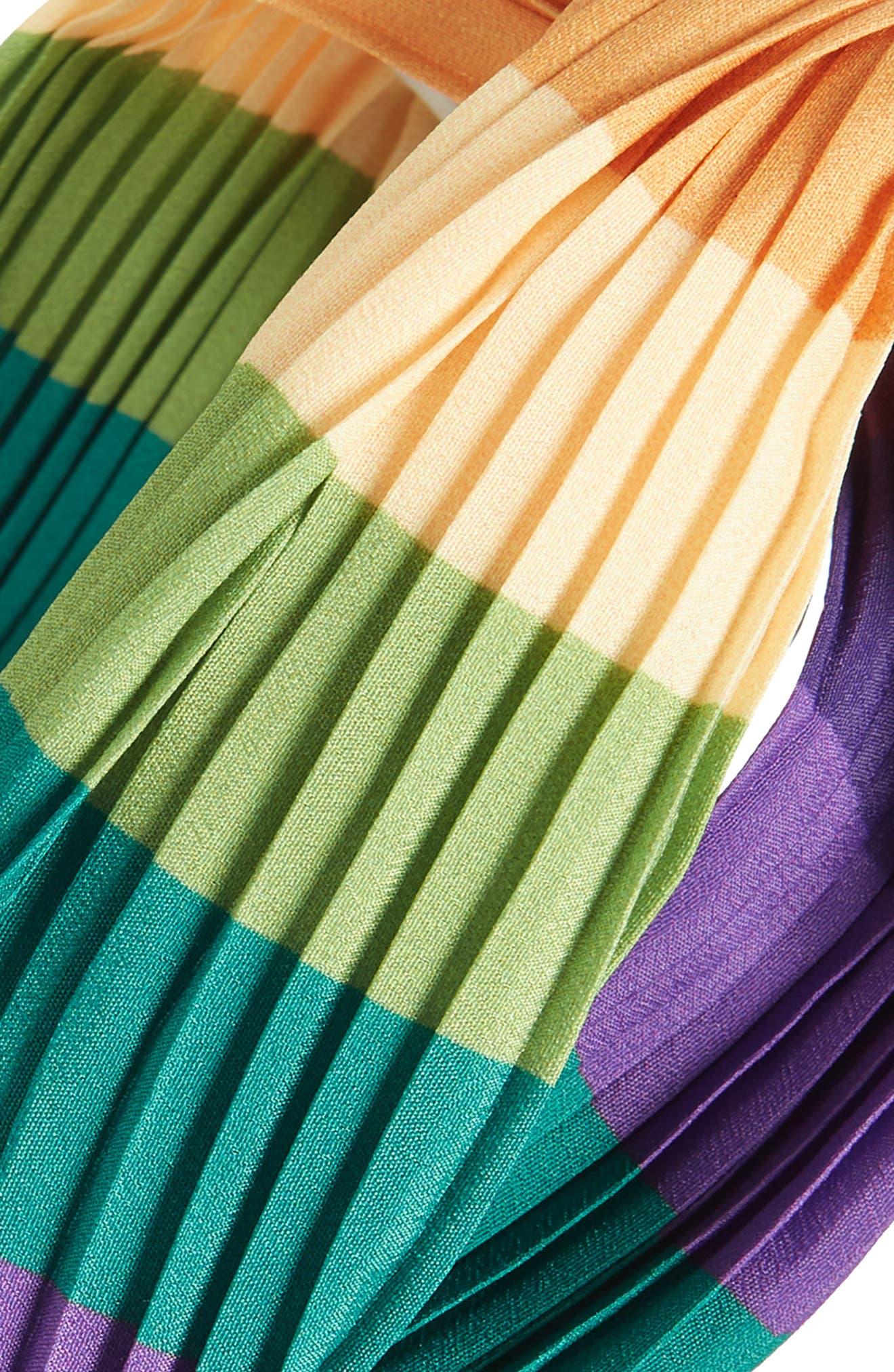 Rainbow Twist Pleated Head Wrap,                             Alternate thumbnail 2, color,                             GREEN MULTI