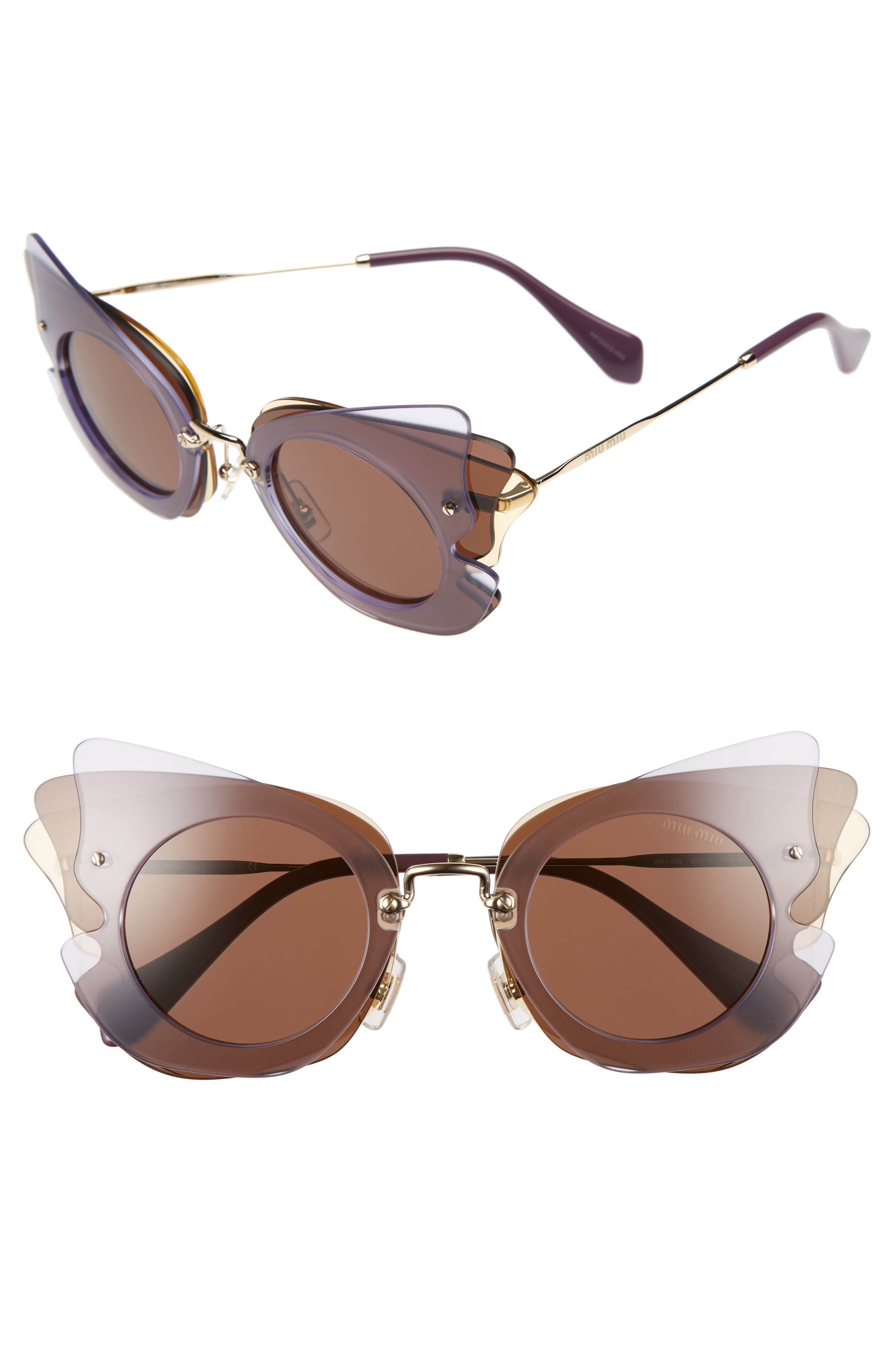 63mm Layered Butterfly Sunglasses,                             Main thumbnail 3, color,