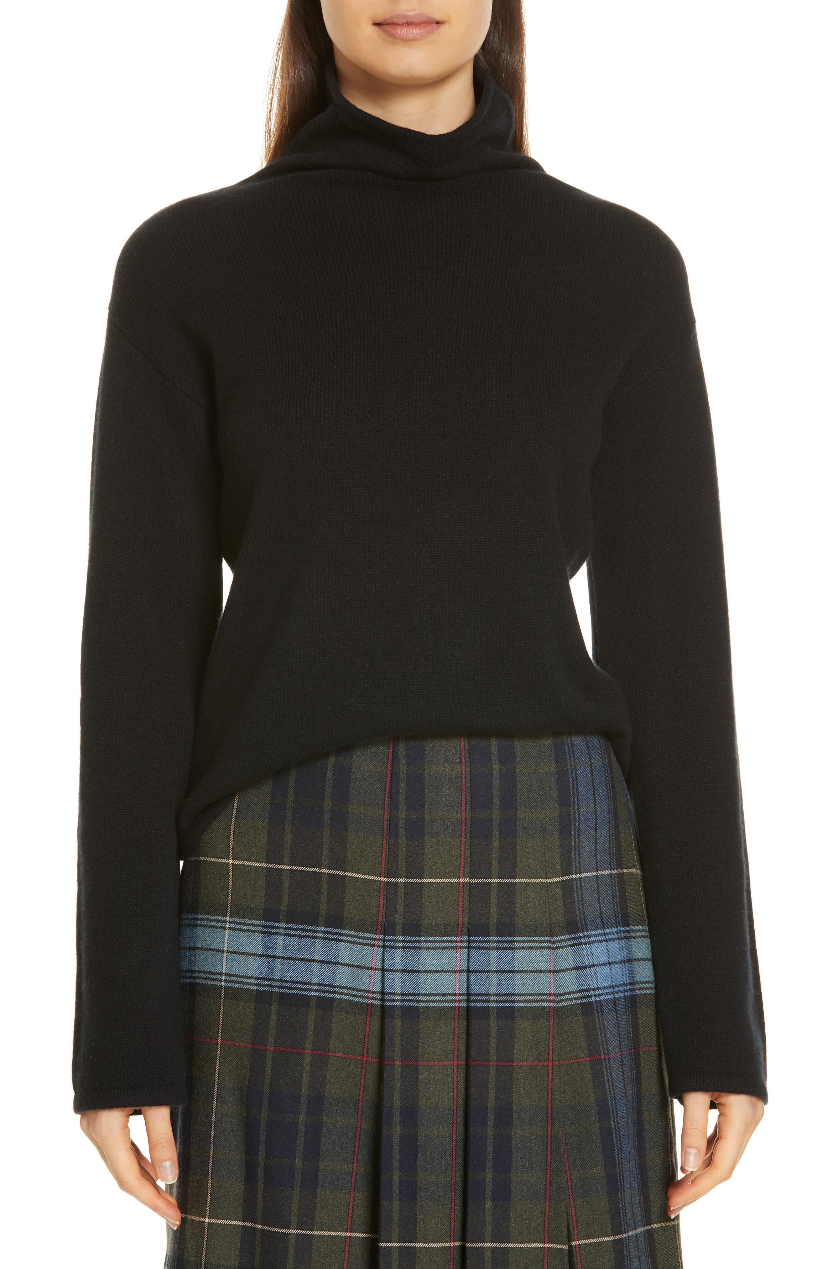 Funnel Neck Cashmere Sweater,                             Main thumbnail 1, color,                             BLACK