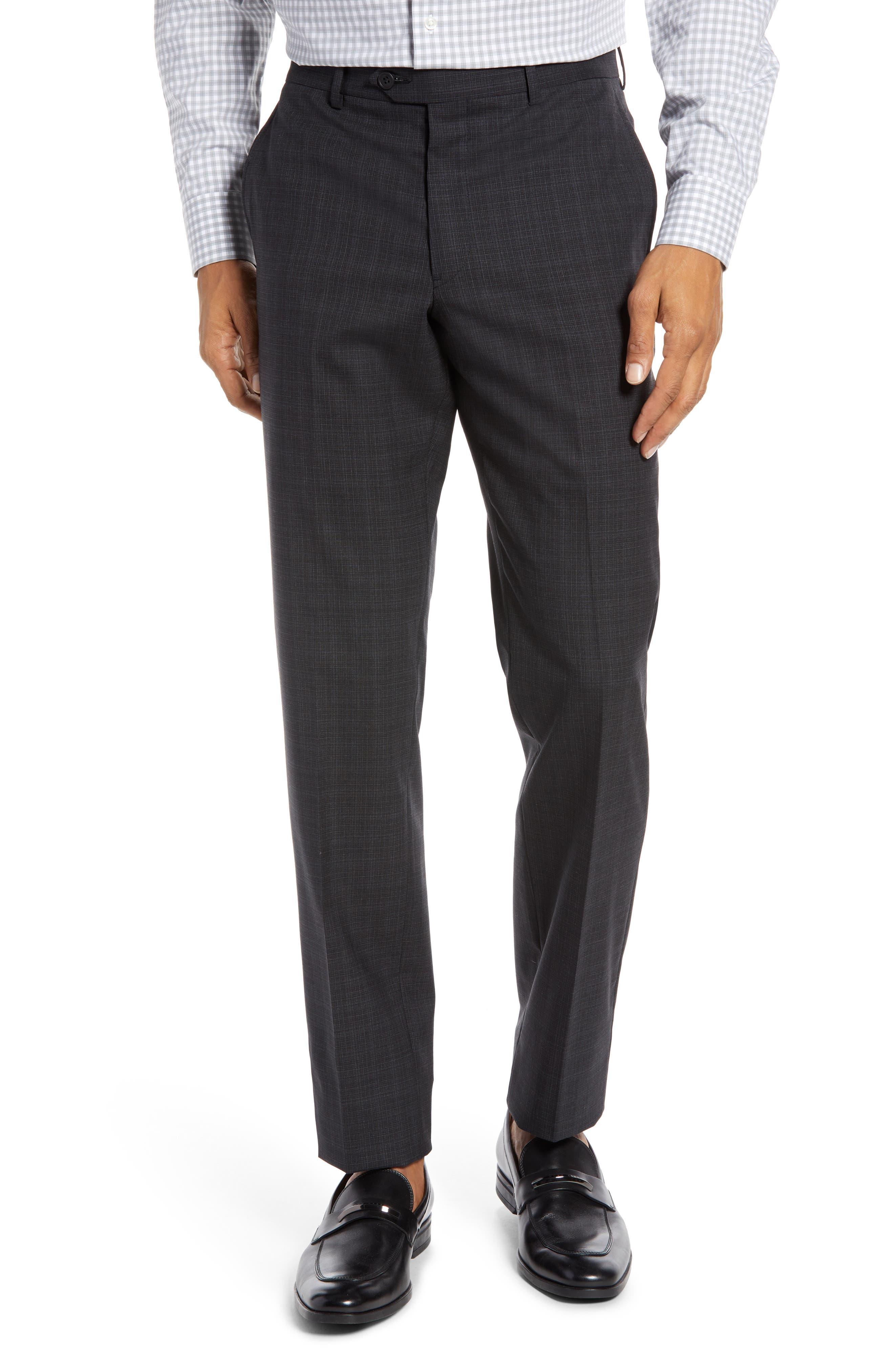 Trim Fit Flat Front Stretch Wool Pants,                             Main thumbnail 1, color,                             BLACK