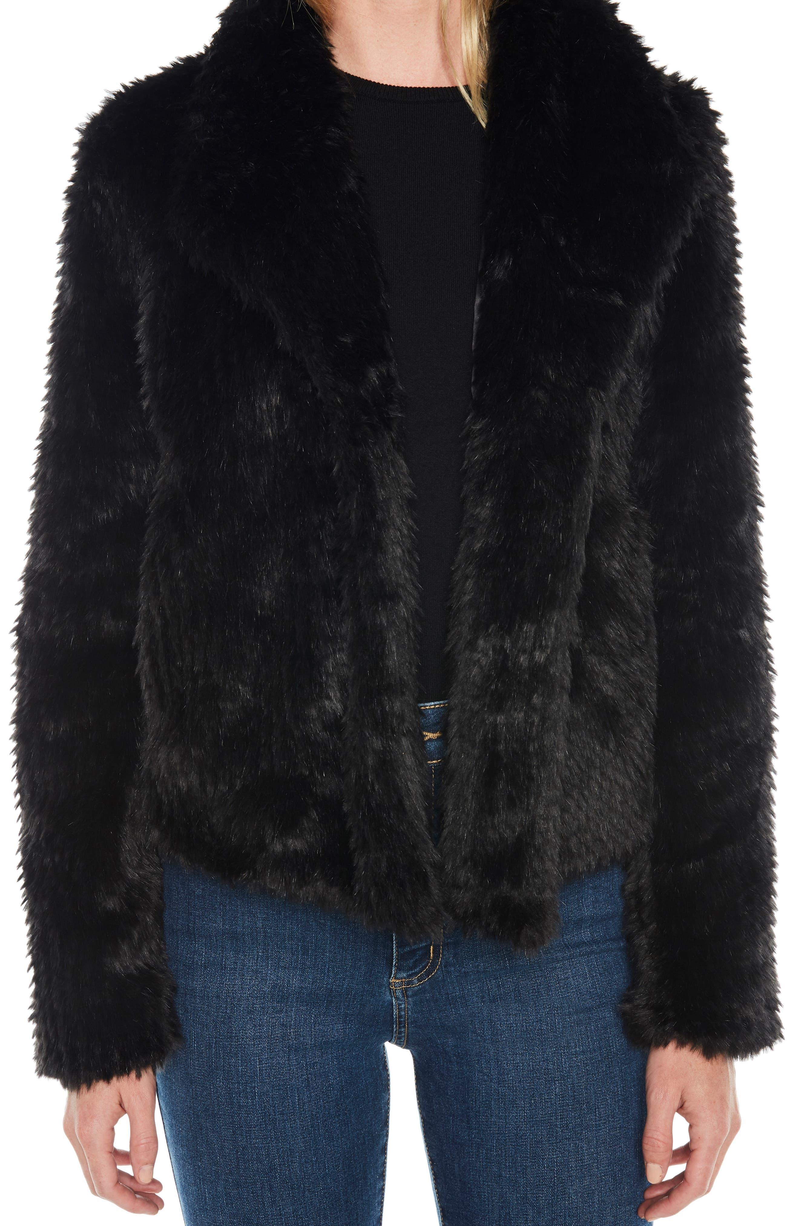 Crop Faux Fur Jacket,                             Alternate thumbnail 4, color,                             BLACK