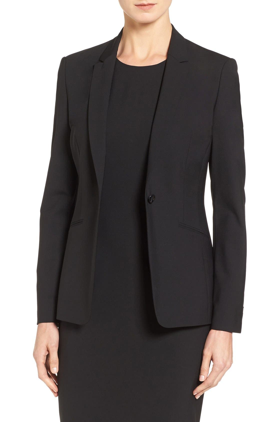 Jabina Tropical Stretch Wool Jacket,                         Main,                         color, BLACK