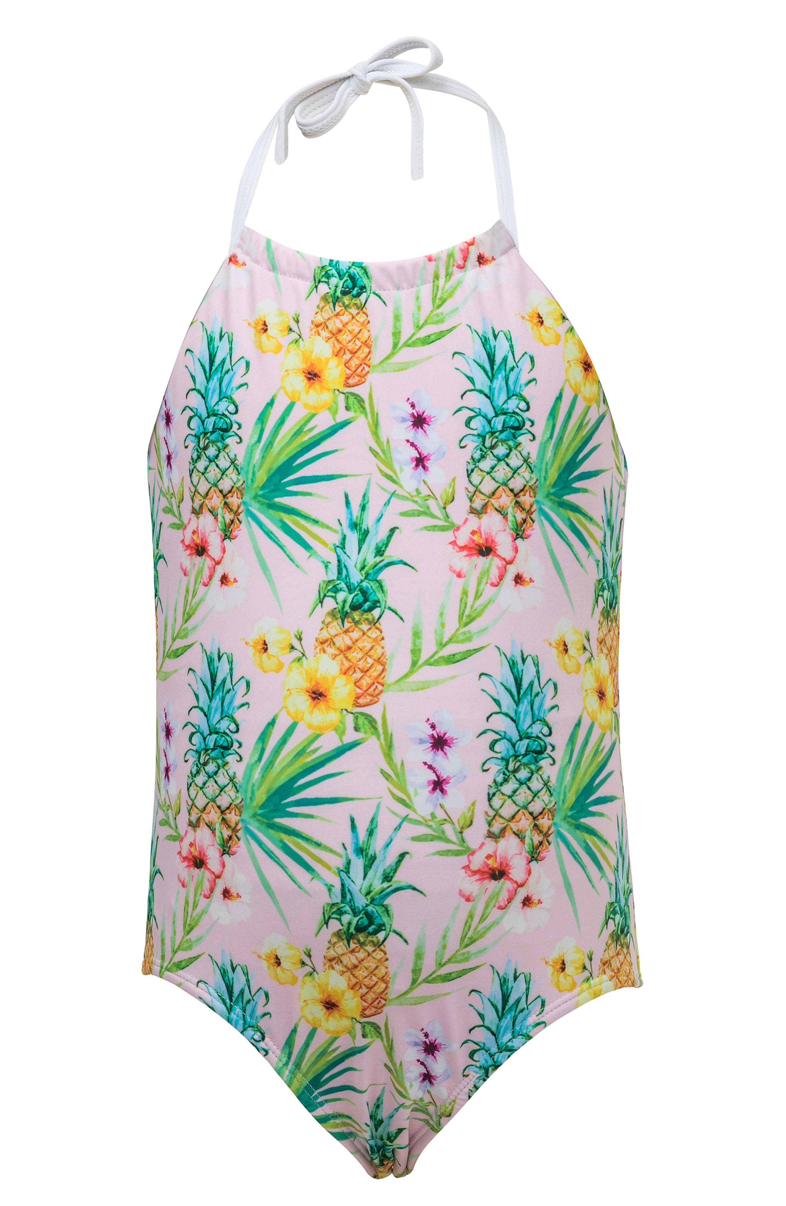 Pineapple One-Piece Halter Swimsuit,                             Main thumbnail 1, color,                             PASTEL PINK MULTI