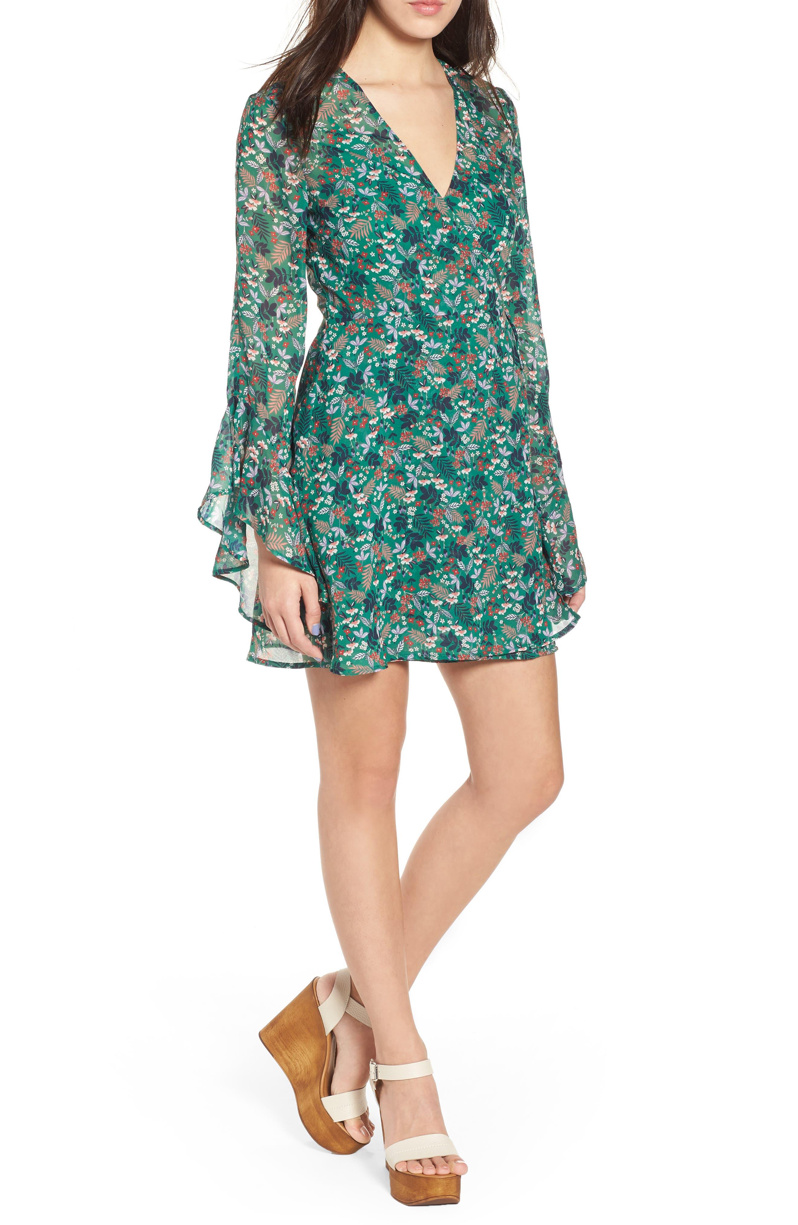 Viridian Floral Wrap Dress,                             Main thumbnail 1, color,