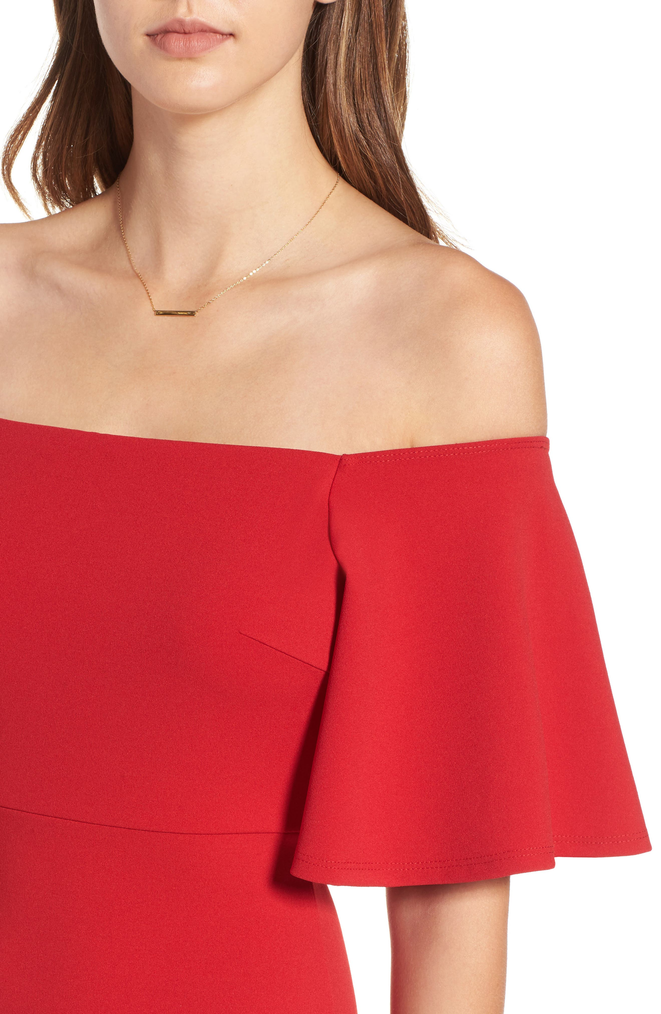 Off the Shoulder Ponte Body-Con Dress,                             Alternate thumbnail 8, color,