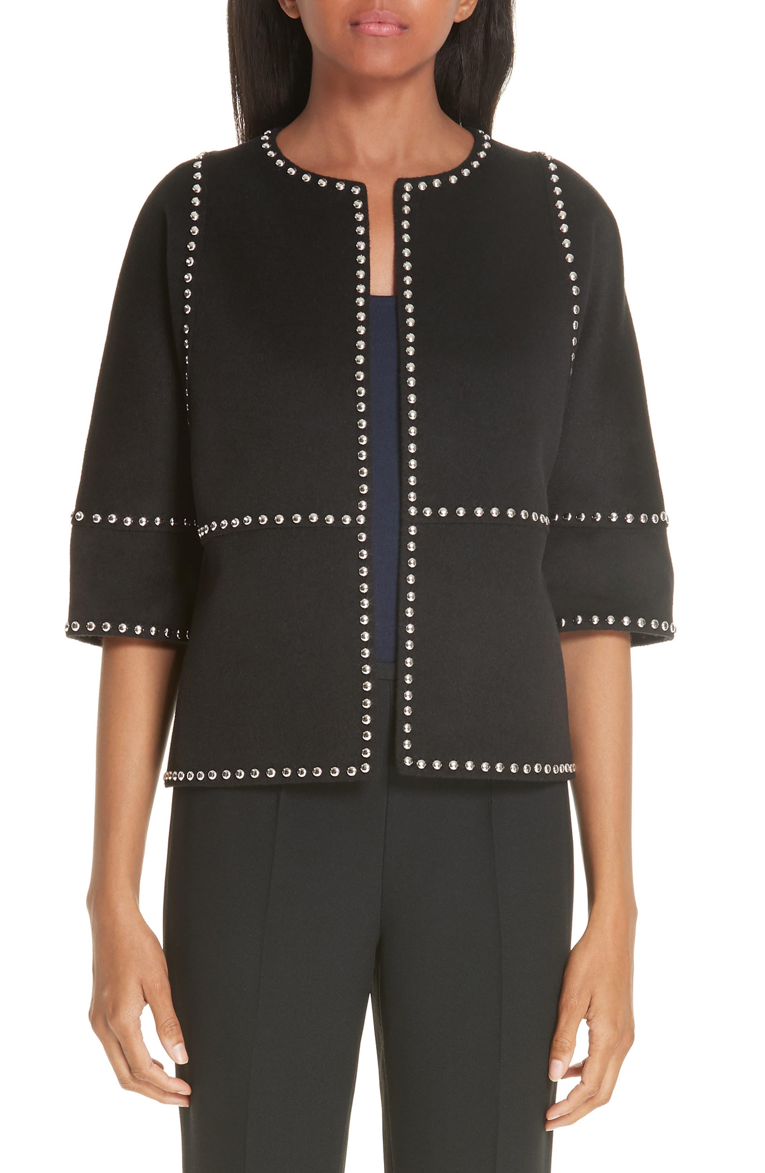 Cookie Studded Wool & Cashgora Jacket,                             Main thumbnail 1, color,                             BLACK