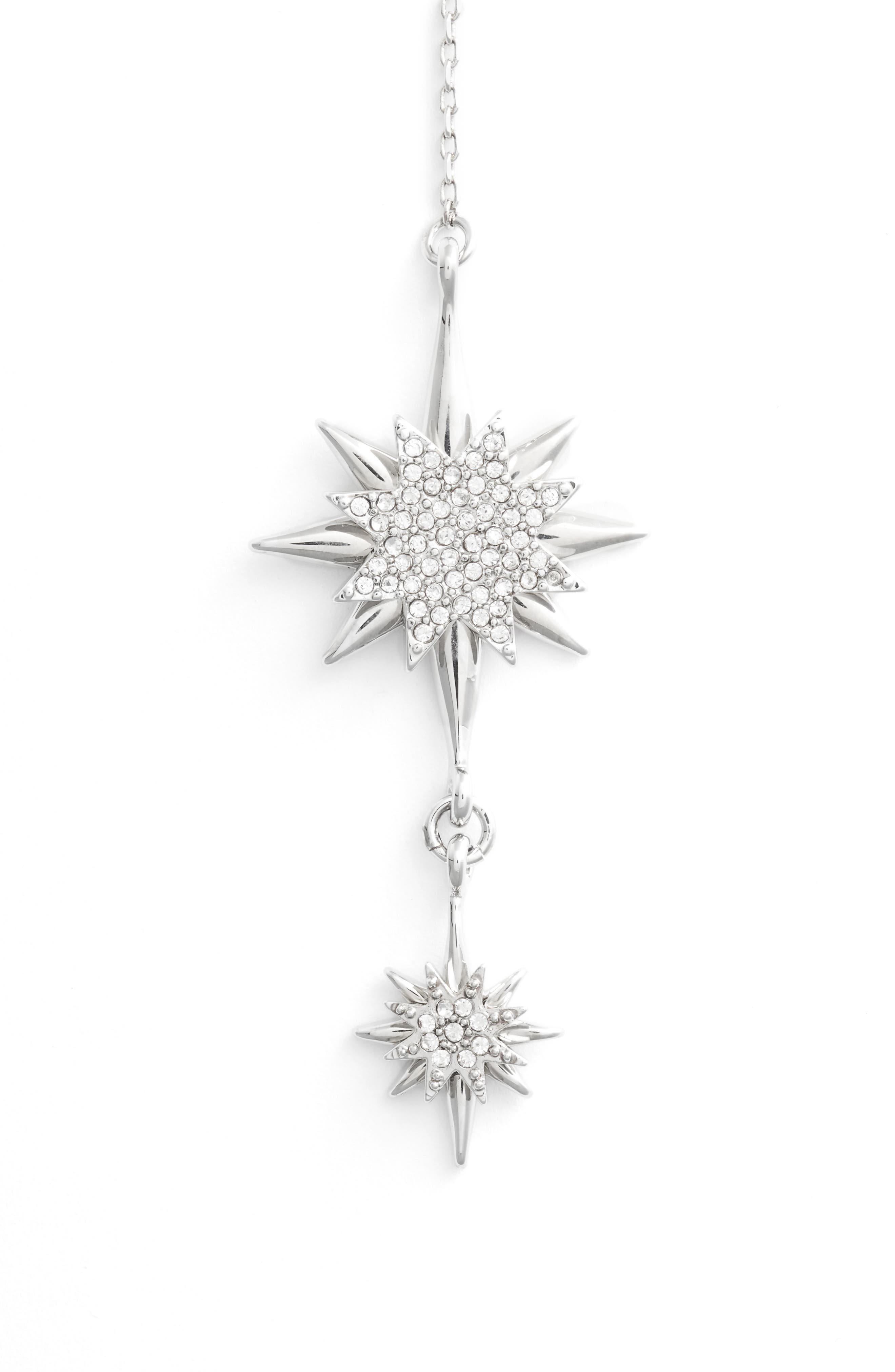 Crystal Starburst Lariat Necklace,                             Alternate thumbnail 3, color,                             SILVER