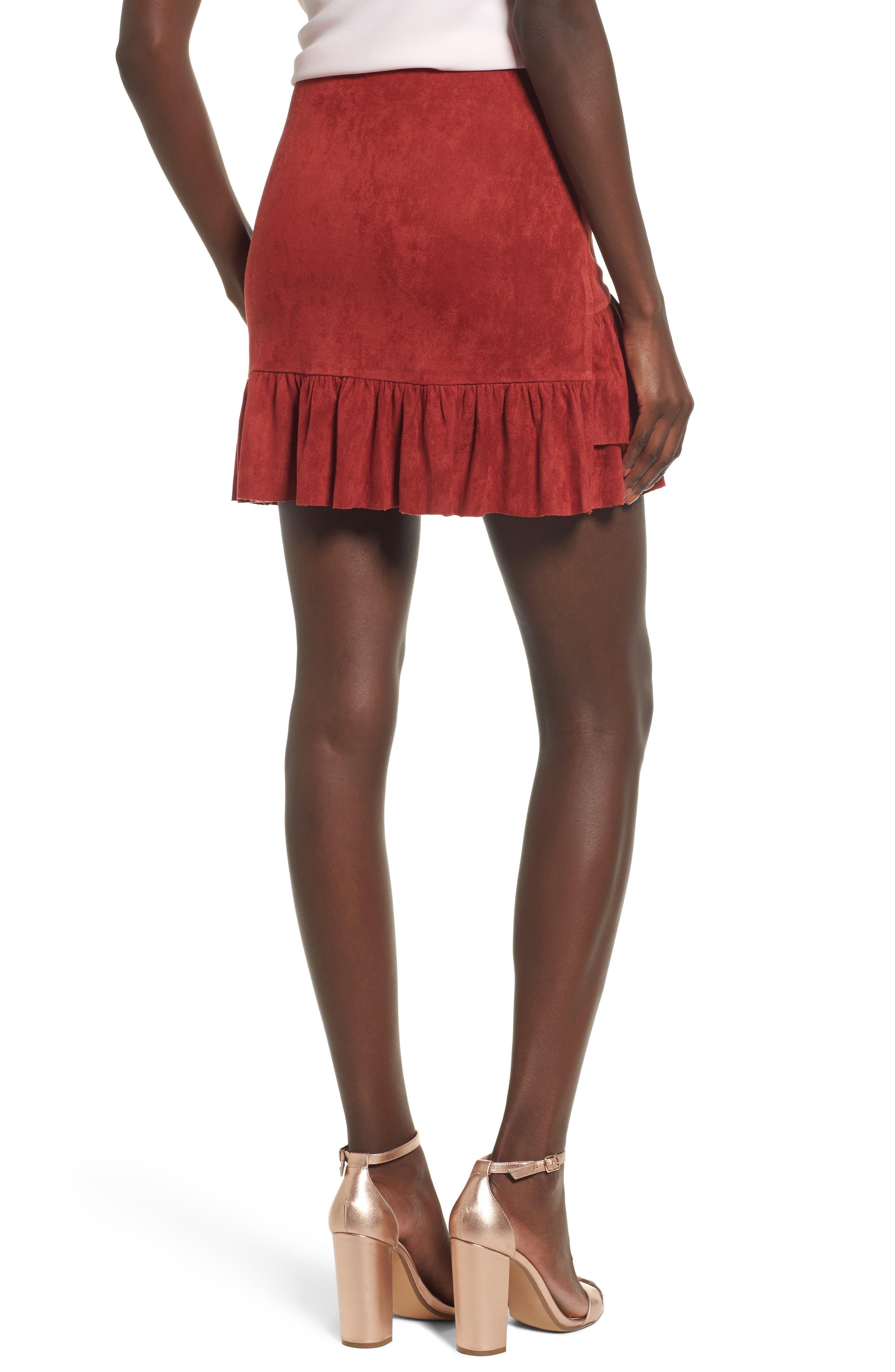Faux Suede Ruffle Miniskirt,                             Alternate thumbnail 2, color,                             200