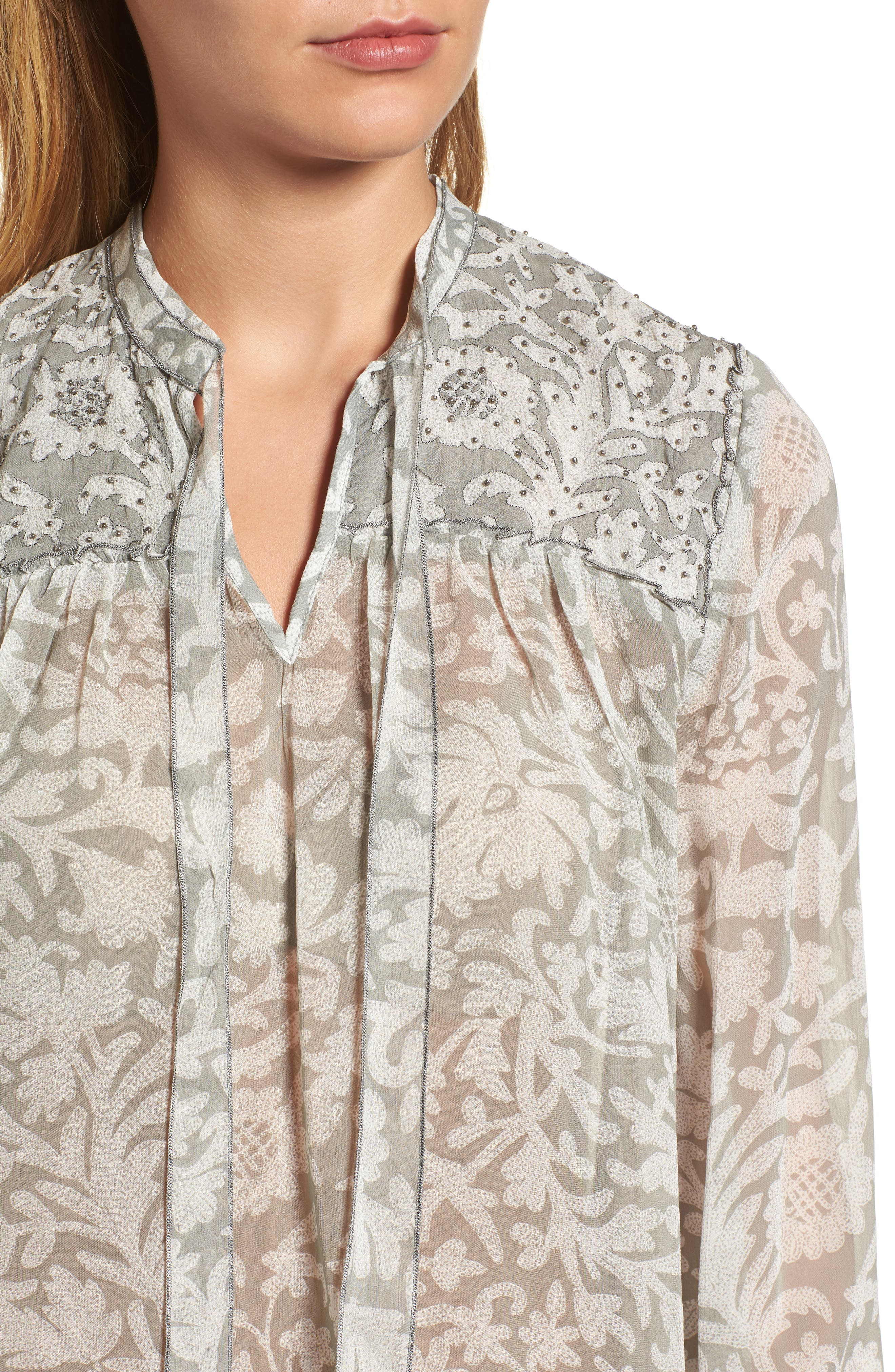 Beaded Floral Print Top,                             Alternate thumbnail 4, color,                             060