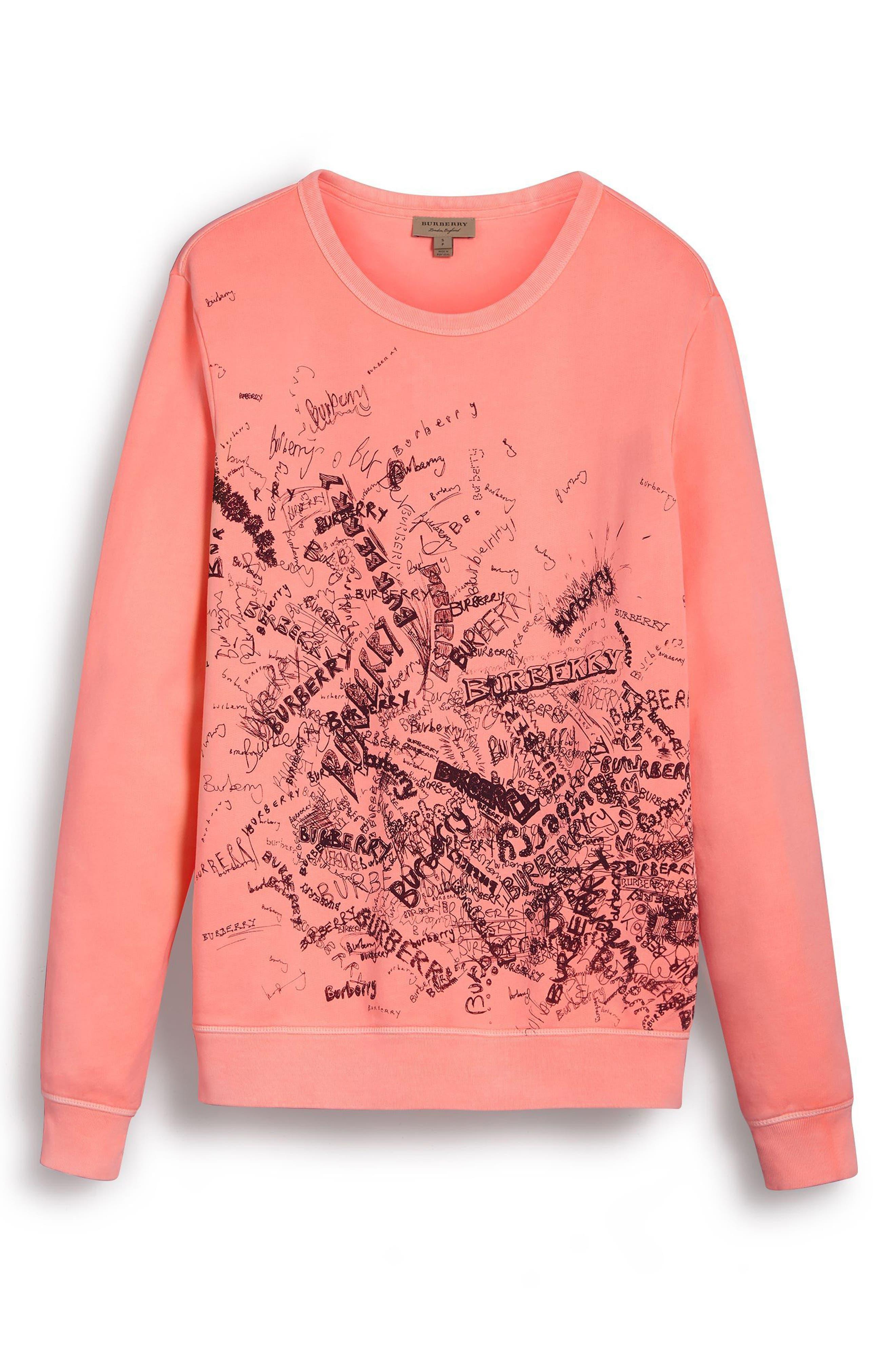 Doodle Print Cotton Sweatshirt,                             Alternate thumbnail 4, color,                             828