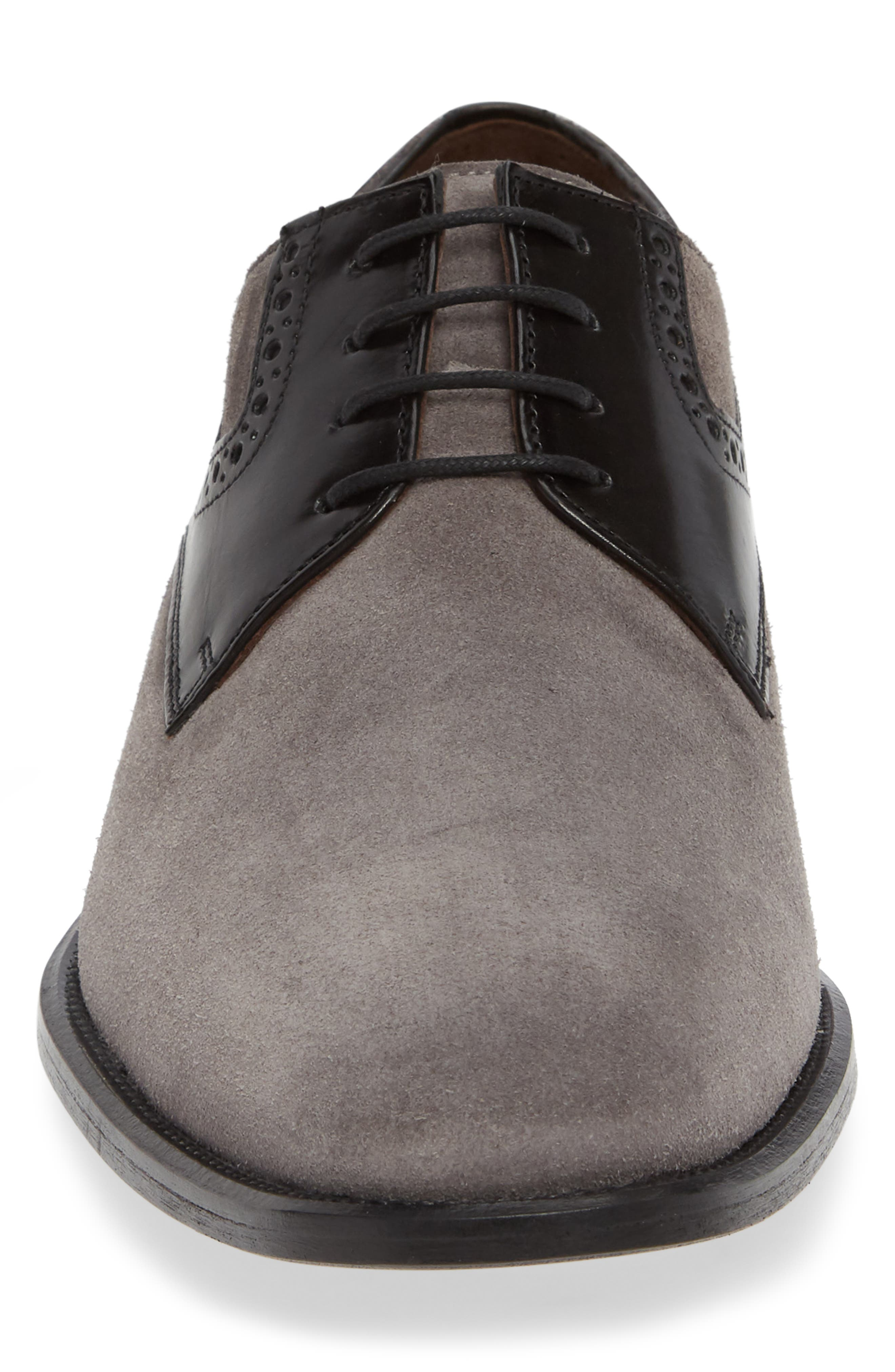 Maxwell Plain Toe Derby,                             Alternate thumbnail 4, color,                             GREY SUEDE