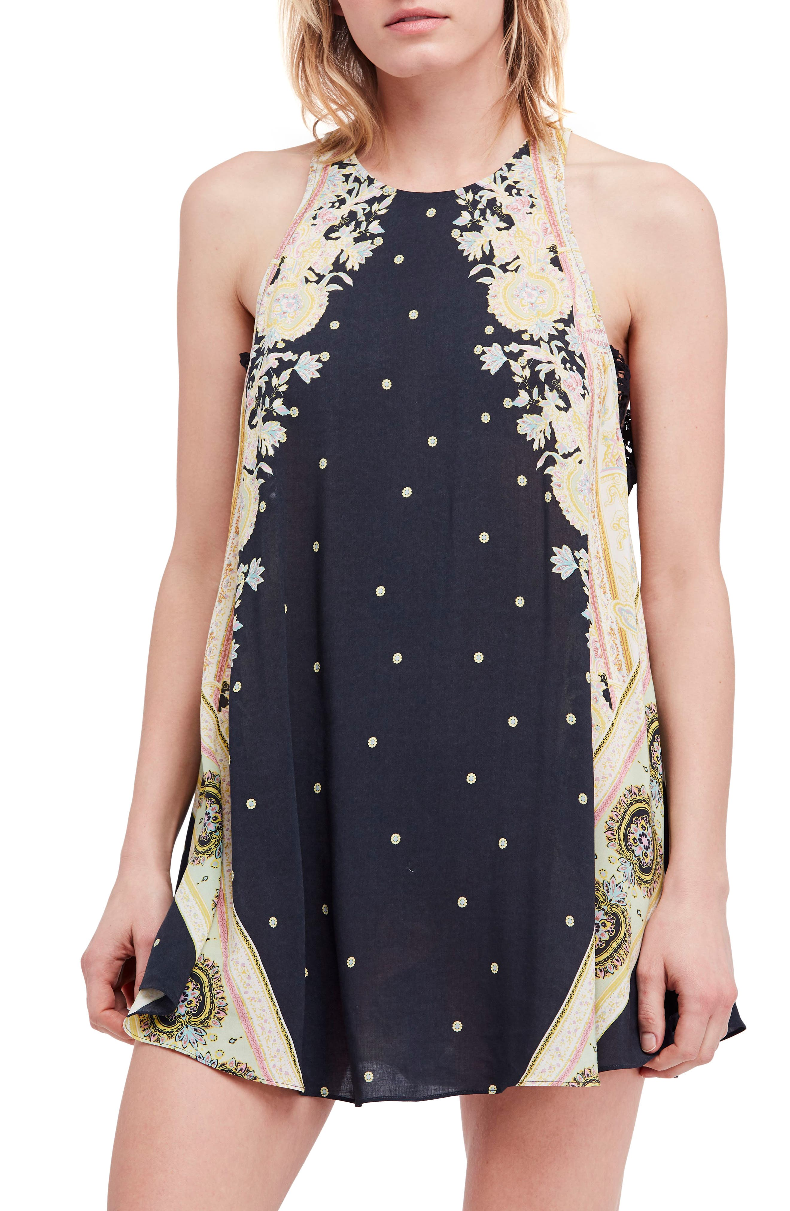 Darjeeling Print Minidress,                         Main,                         color, BLACK COMBO