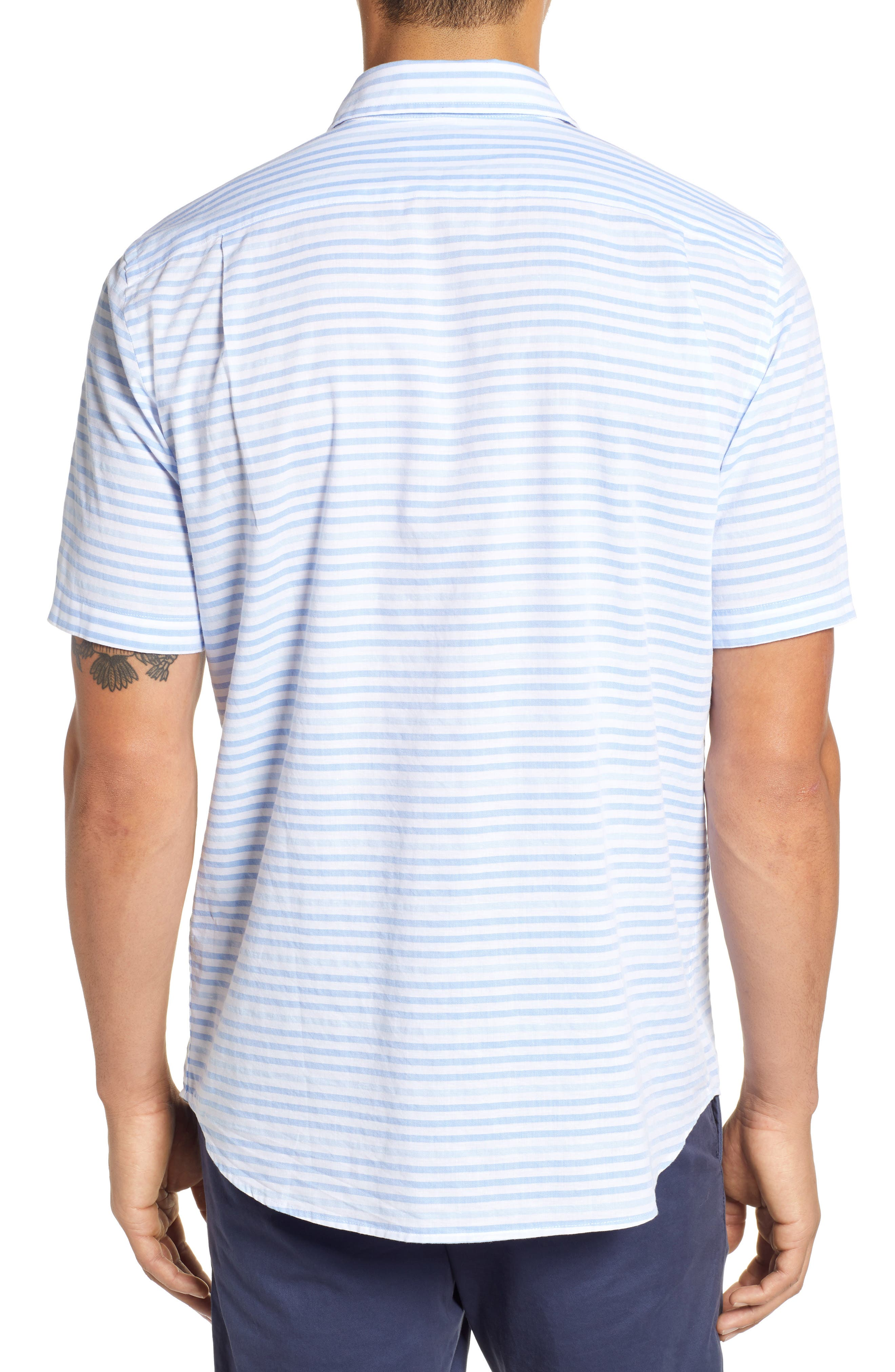 Ocean View Regular Fit Stripe Sport Shirt,                             Alternate thumbnail 3, color,                             MARINA