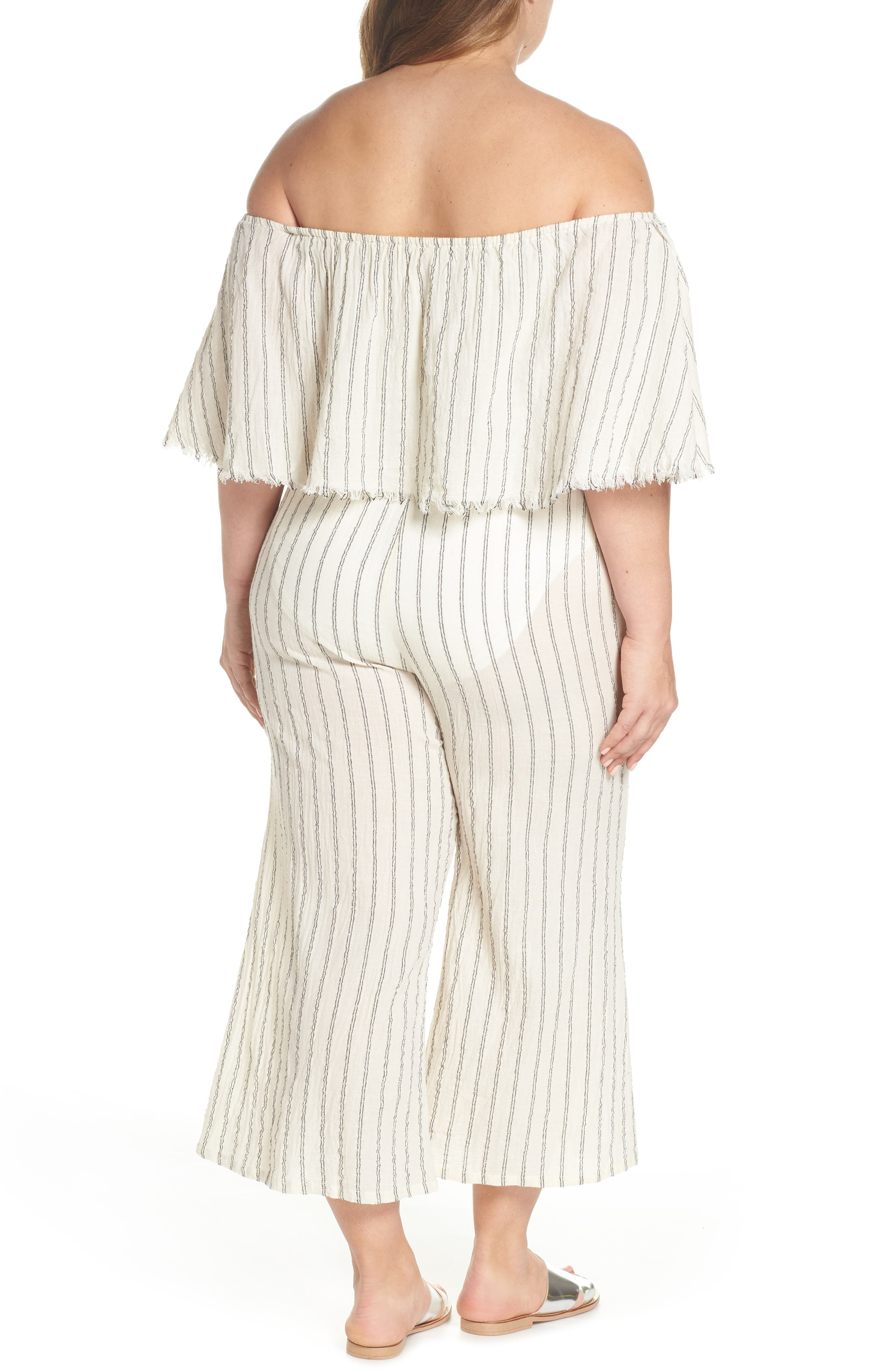 Ruffle Coulotte Cover-Up Jumpsuit,                             Alternate thumbnail 2, color,                             900
