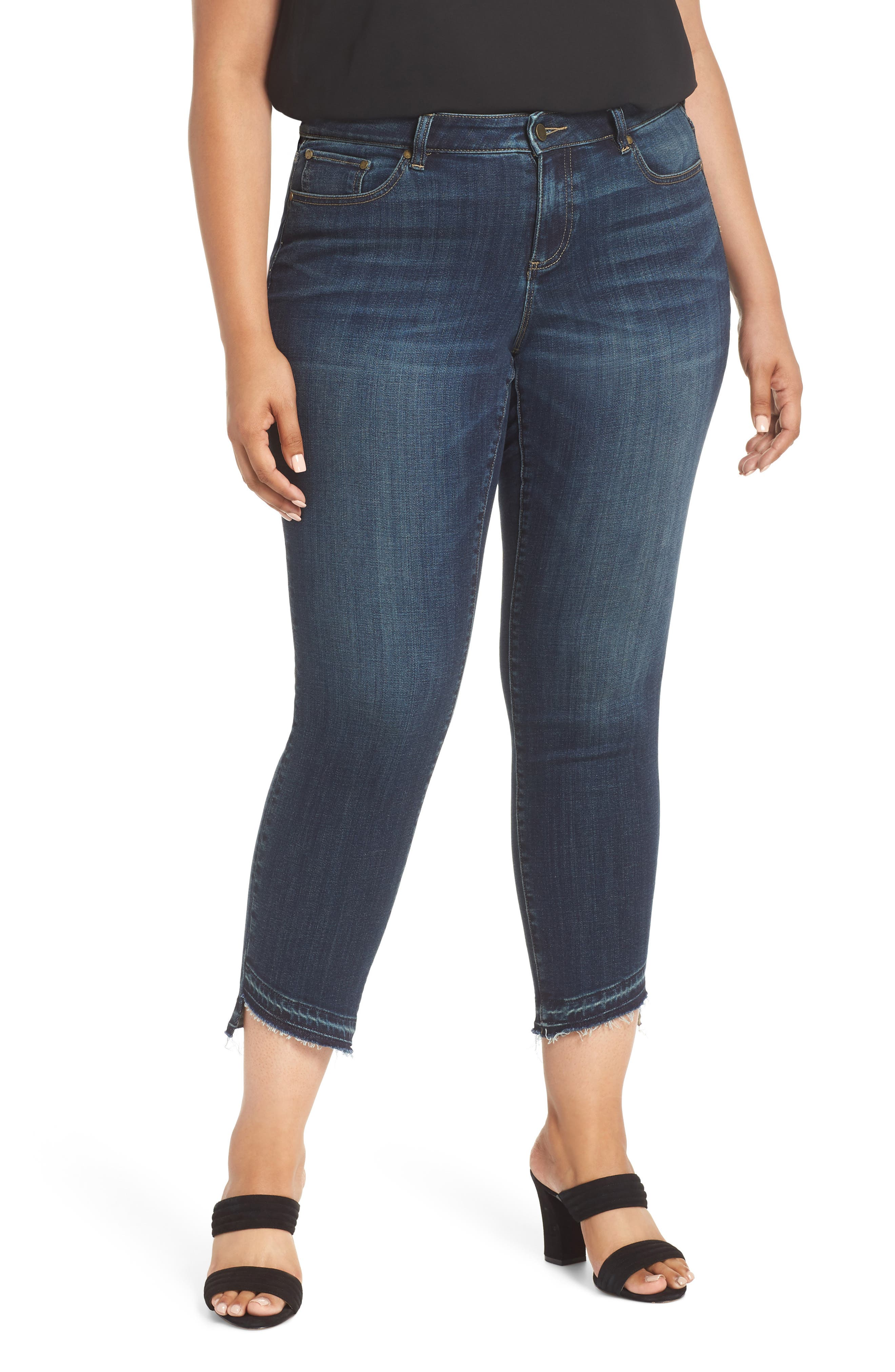 Indigo Curve Hem Skinny Jeans,                         Main,                         color, DARK AUTHENTIC