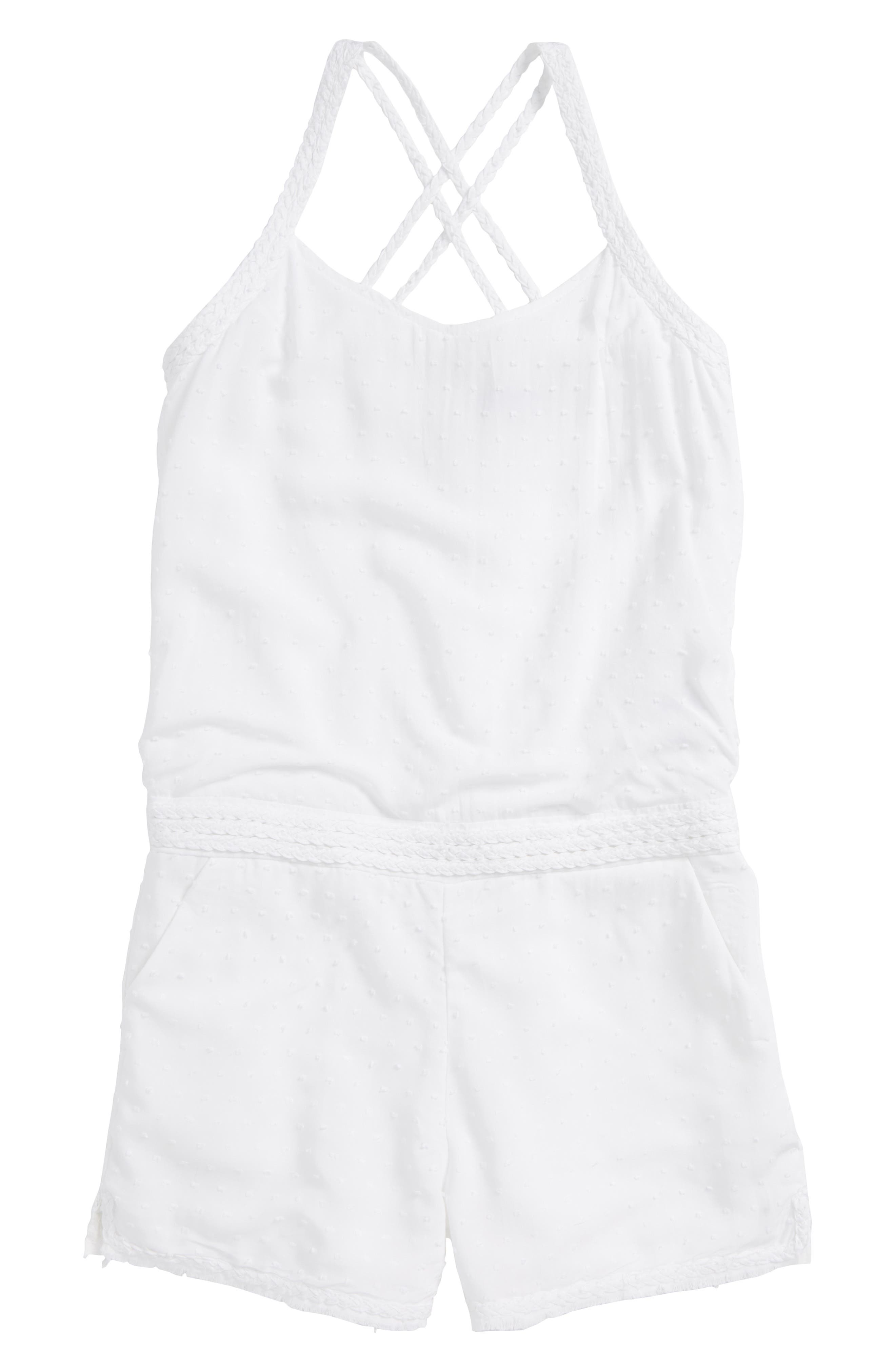 Swiss Dot Romper,                         Main,                         color, 101