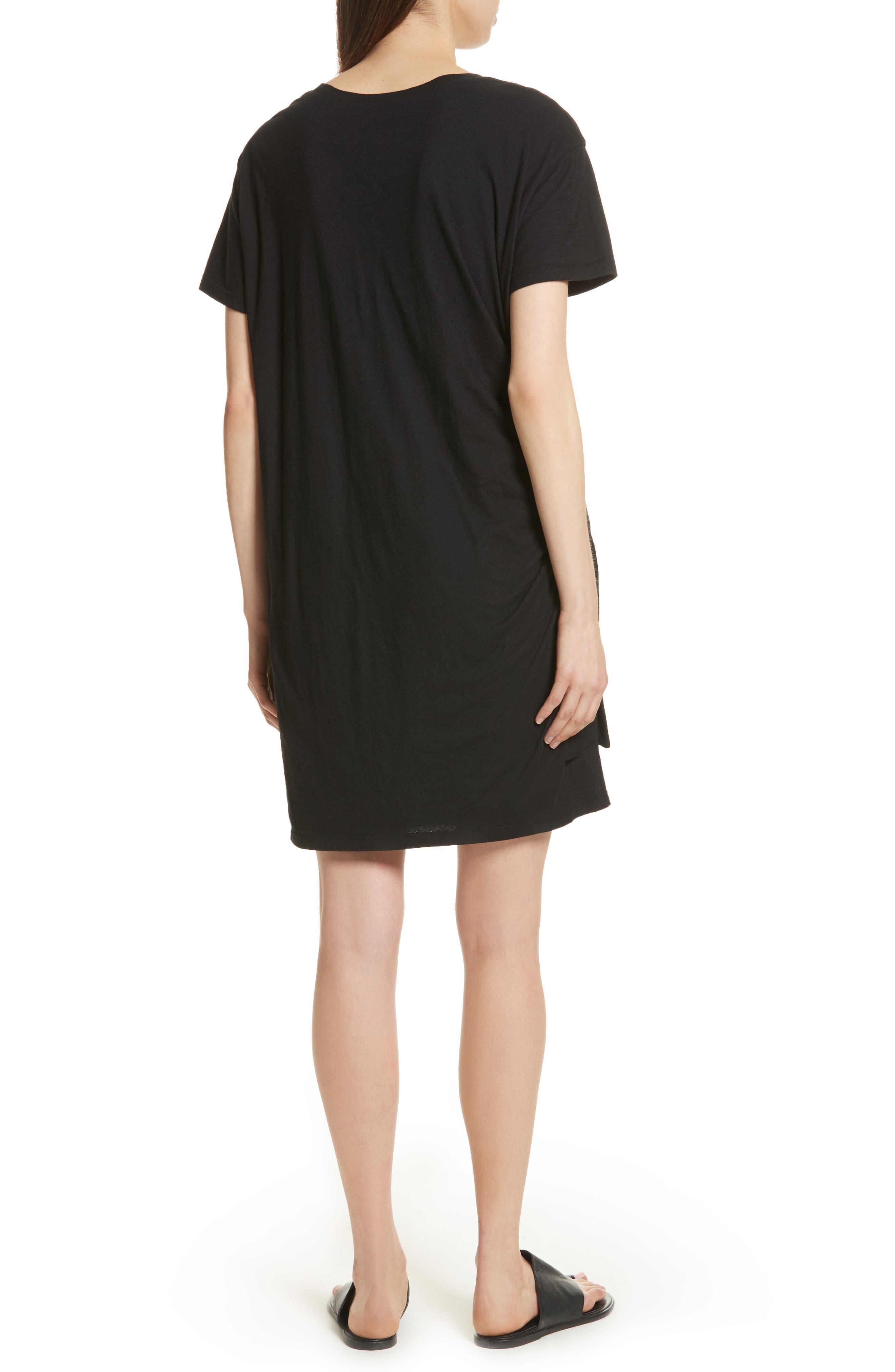 Side Tie Cotton Dress,                             Alternate thumbnail 2, color,                             001