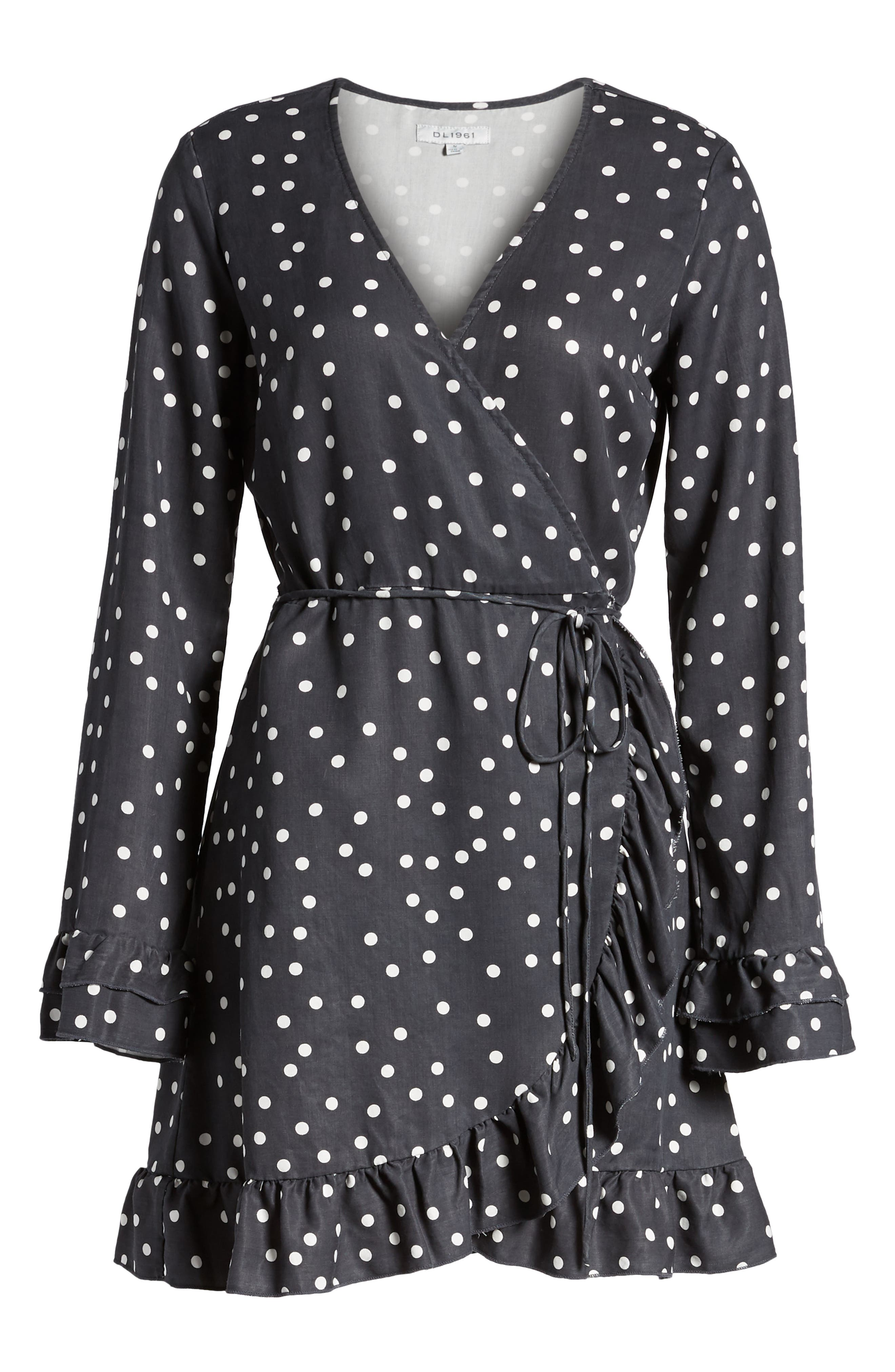 Ainsley Wrap Dress,                             Alternate thumbnail 7, color,                             MIDNIGHT POLKA DOT
