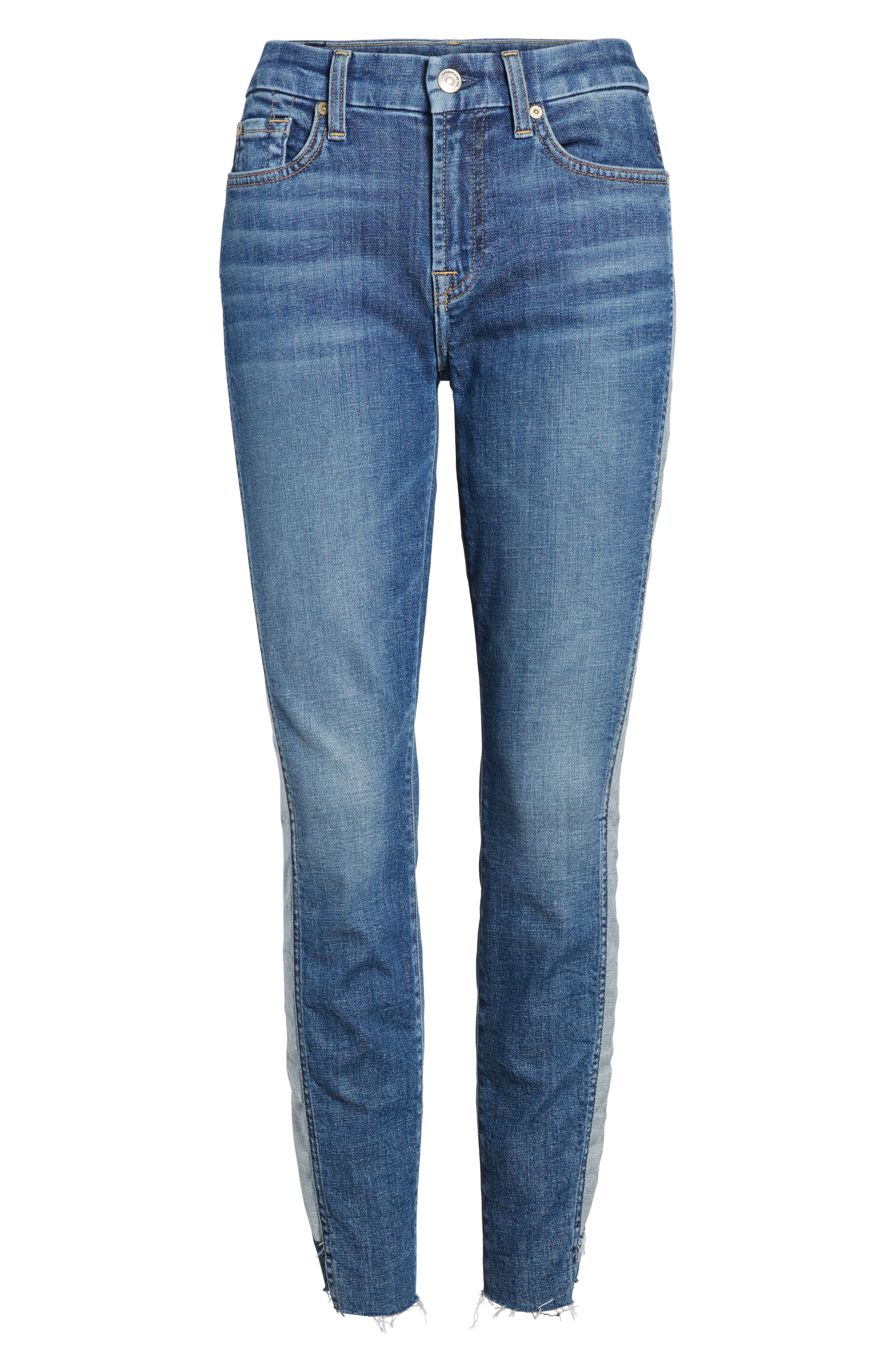 Side Panel Inset Ankle Skinny Jeans,                             Alternate thumbnail 6, color,                             400
