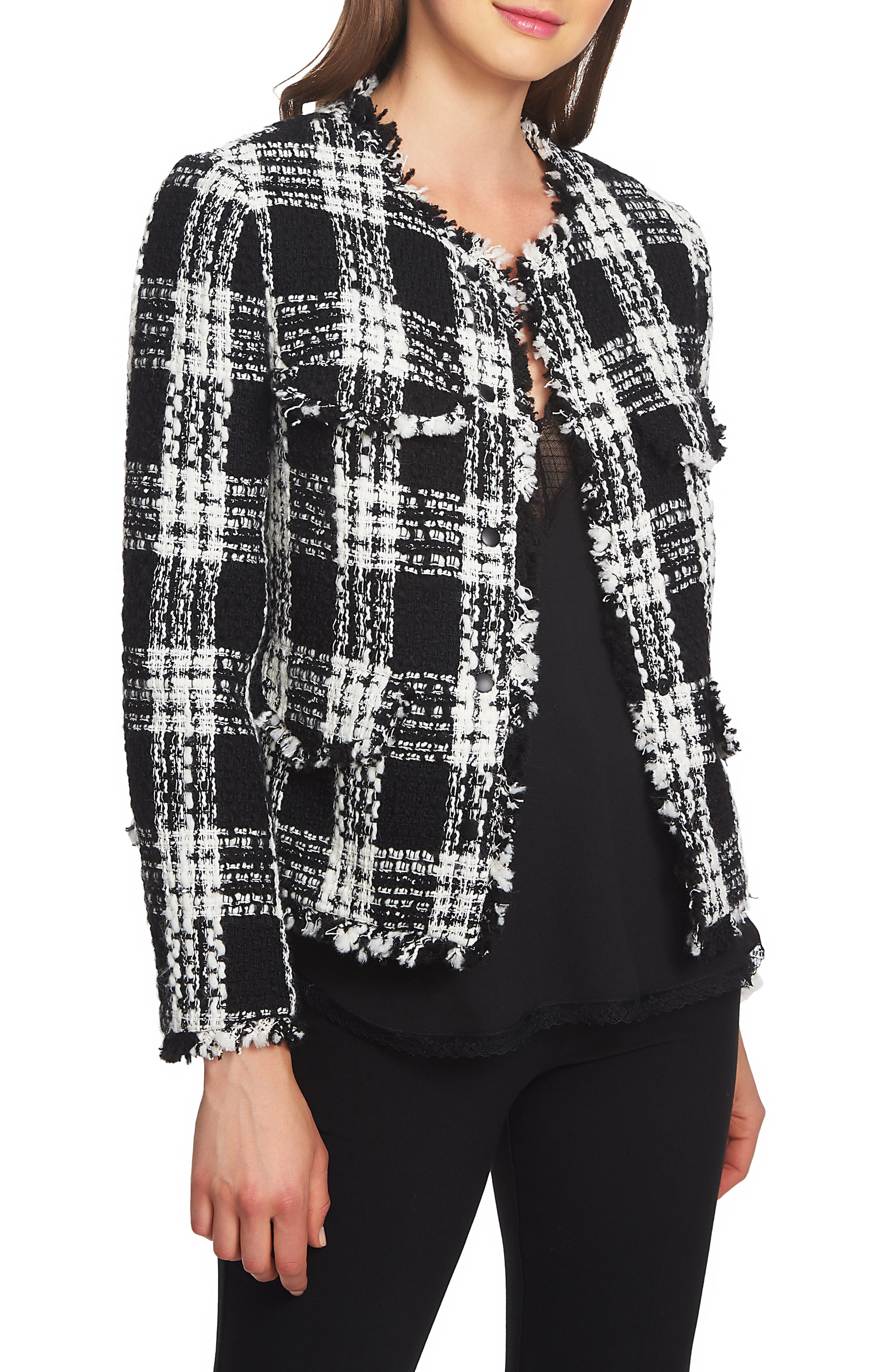 Raw Edge Plaid Tweed Jacket,                             Main thumbnail 1, color,                             006