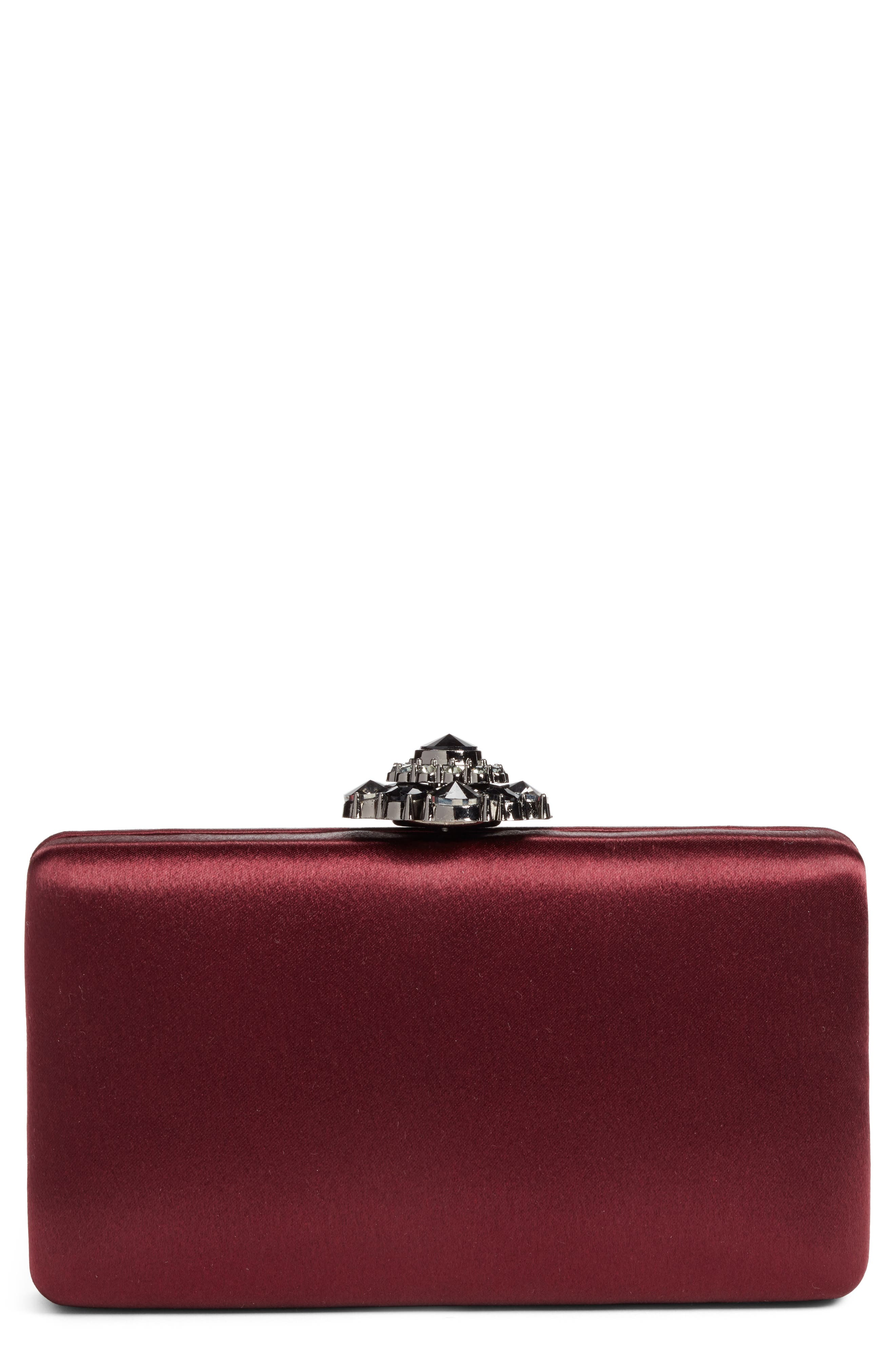 Crystal Flower Clasp Box Clutch,                             Main thumbnail 1, color,                             930
