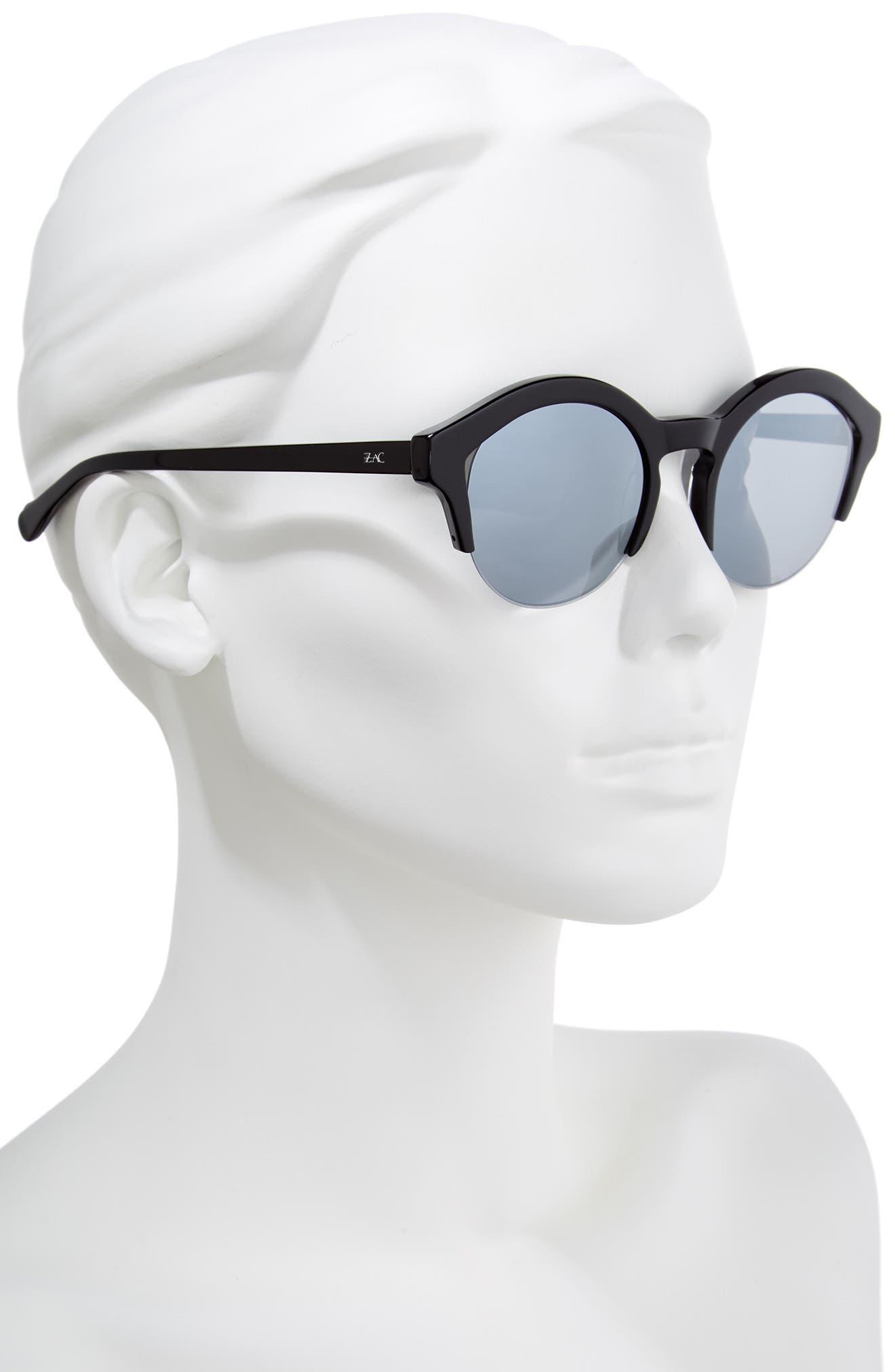 Bren 51mm Half-Rim Sunglasses,                             Alternate thumbnail 2, color,                             BLACK/ SILVER
